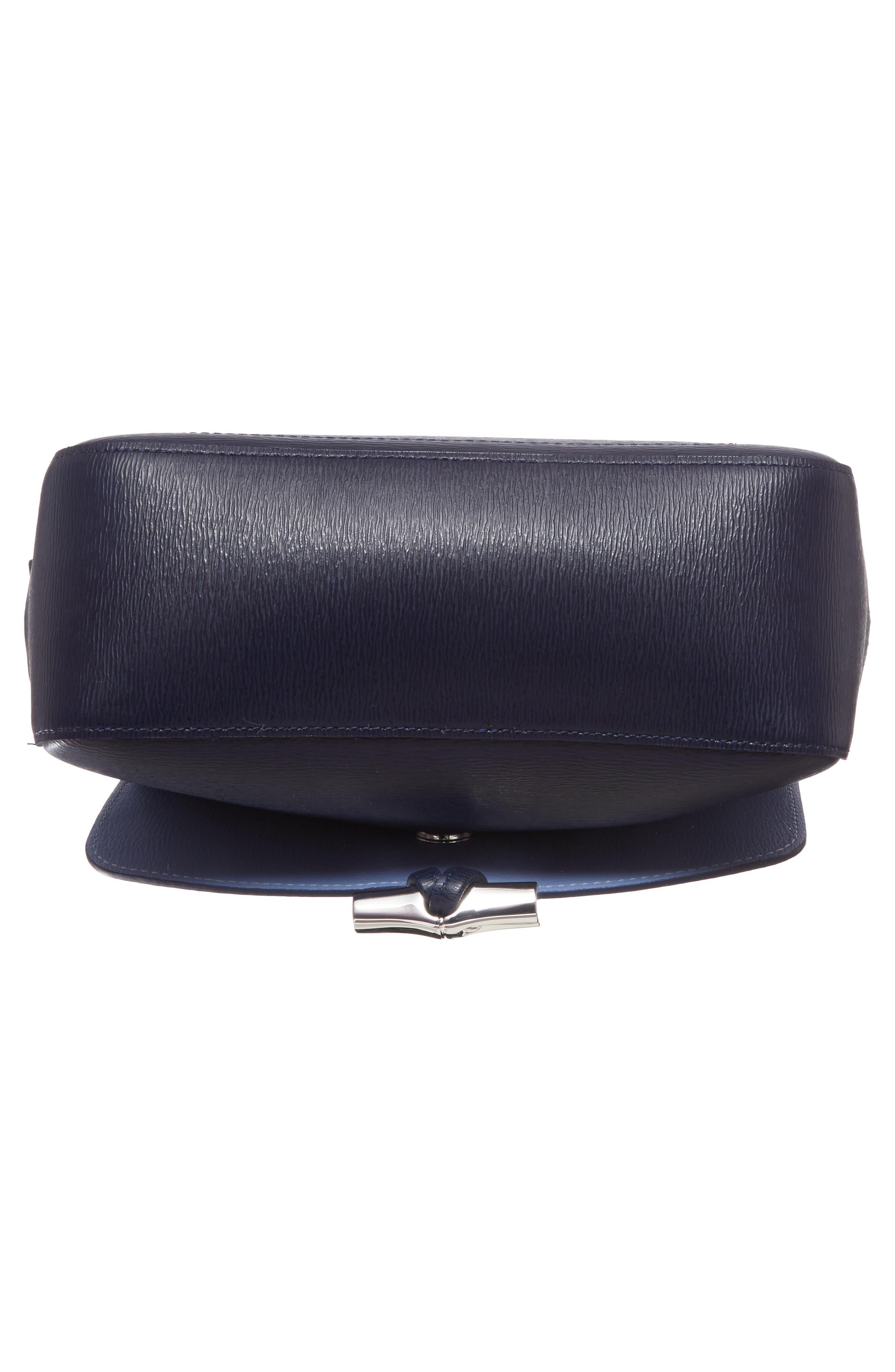 Roseau Leather Crossbody Bag,                             Alternate thumbnail 6, color,                             Navy