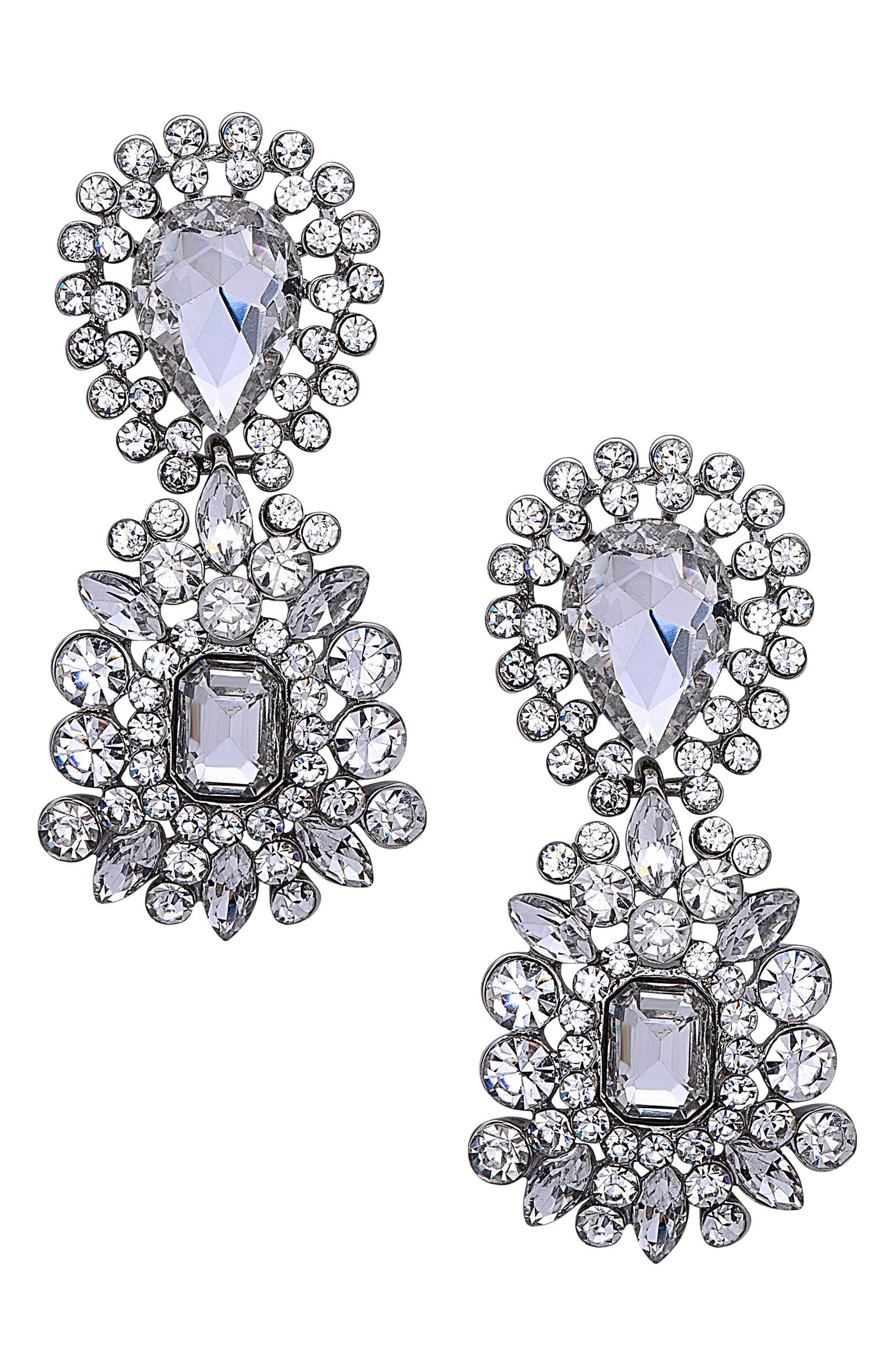 Crystal Cluster Drop Earrings,                         Main,                         color, Silver