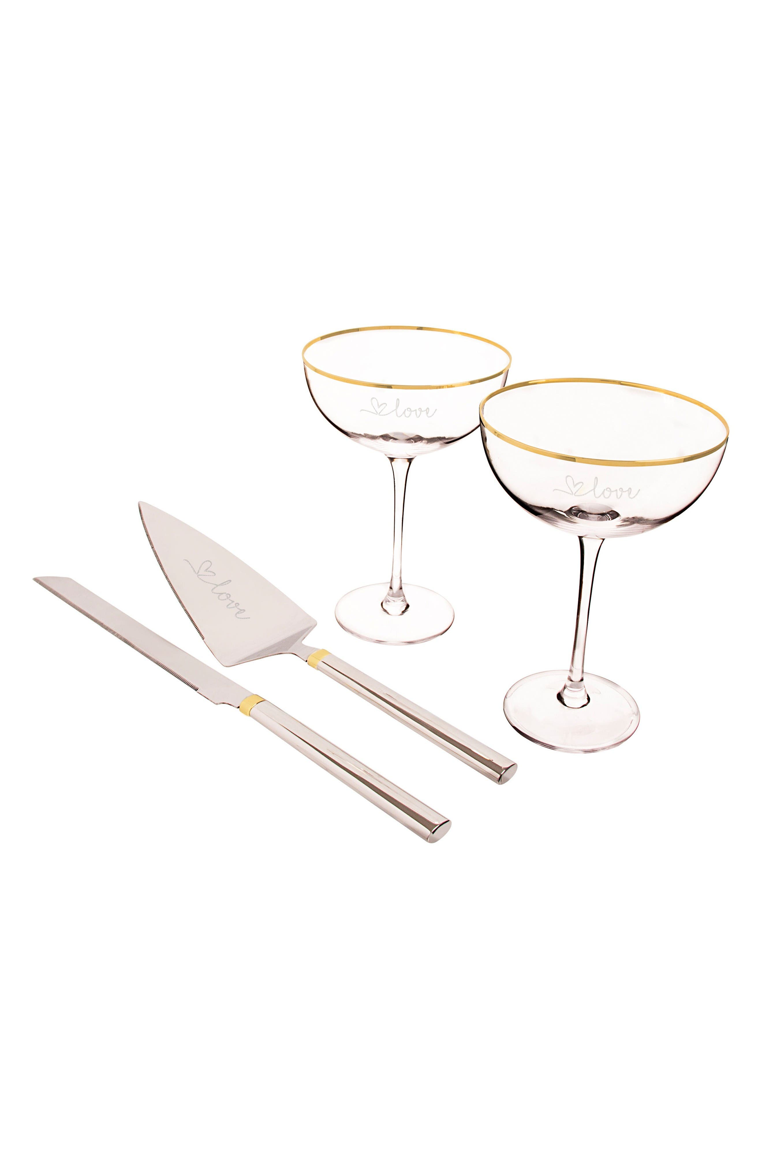 Cathy's Concepts Gold Love Coupe Flutes & Cake Serving Set