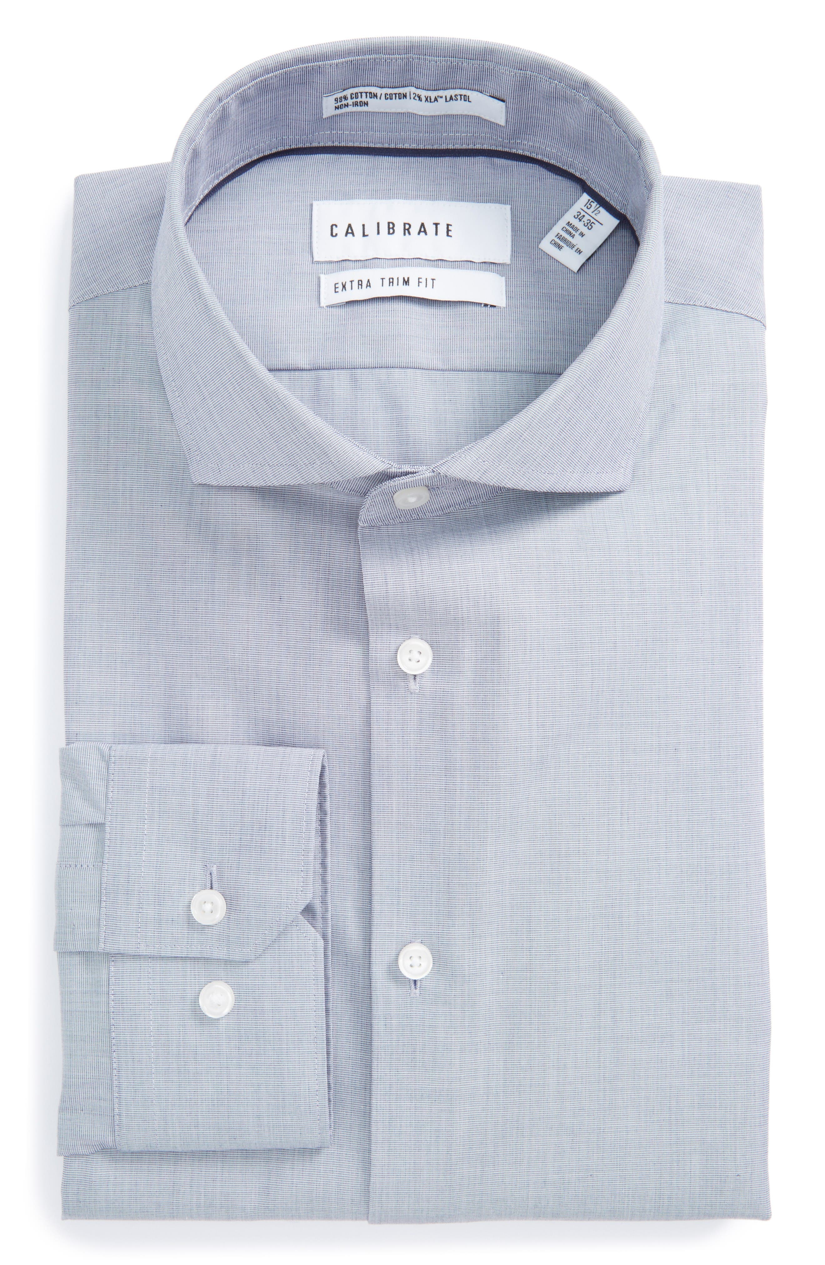 Extra Trim Fit Stretch No-Iron Dress Shirt,                             Main thumbnail 1, color,                             Navy Patriot