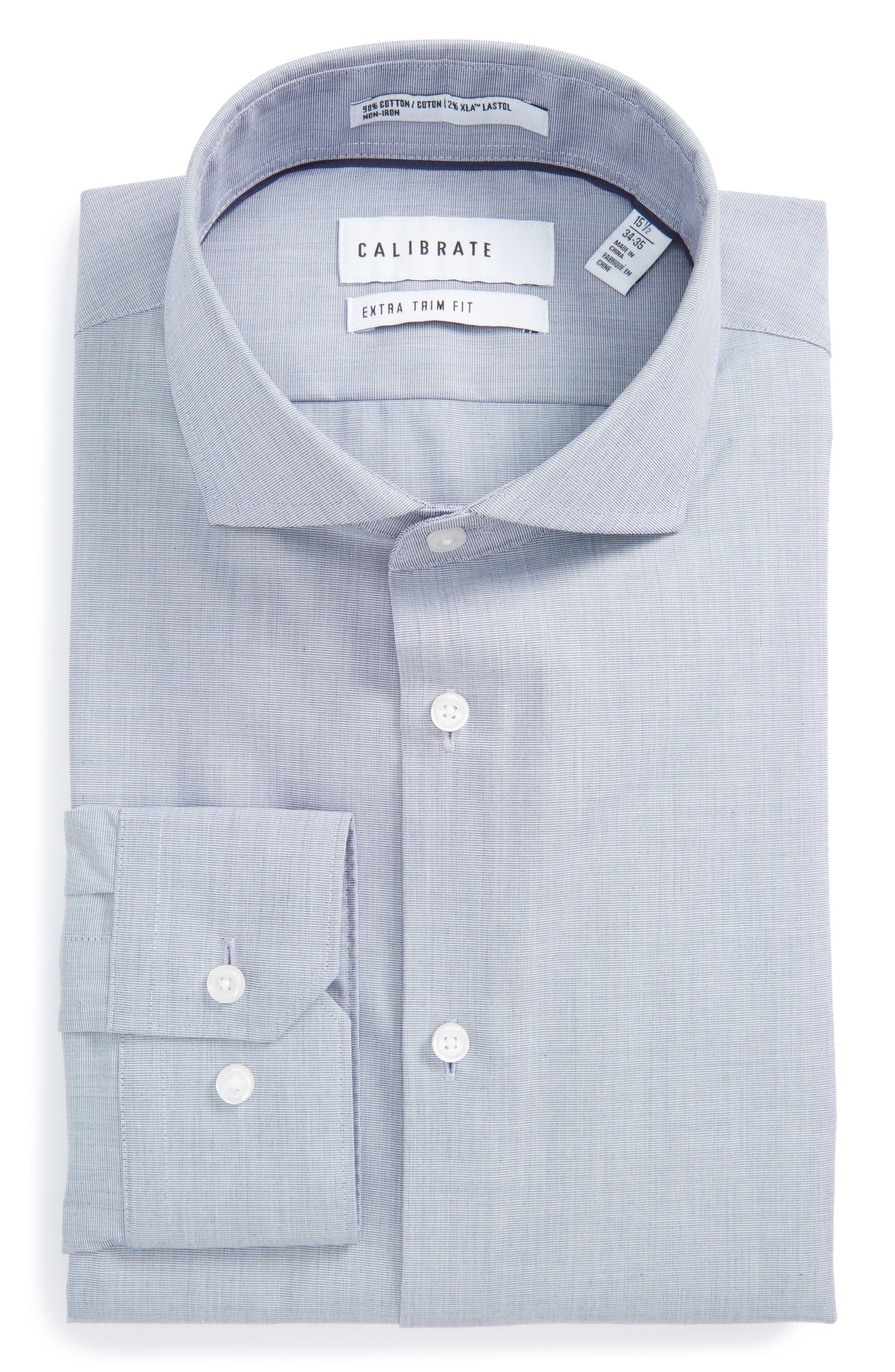 Extra Trim Fit Stretch No-Iron Dress Shirt,                         Main,                         color, Navy Patriot
