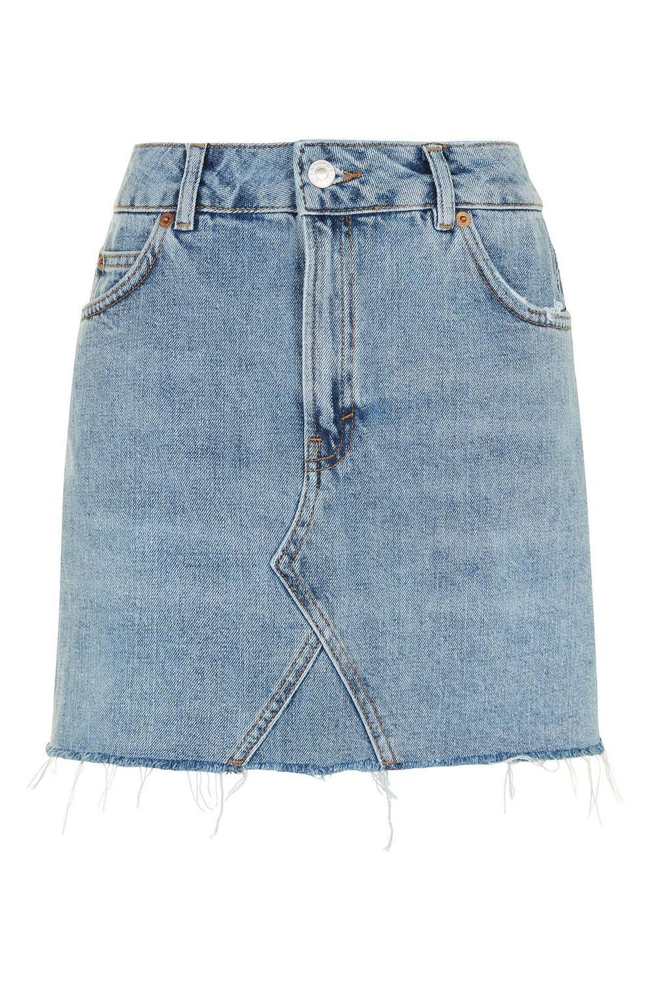 Denim Miniskirt,                             Alternate thumbnail 3, color,                             Mid Denim
