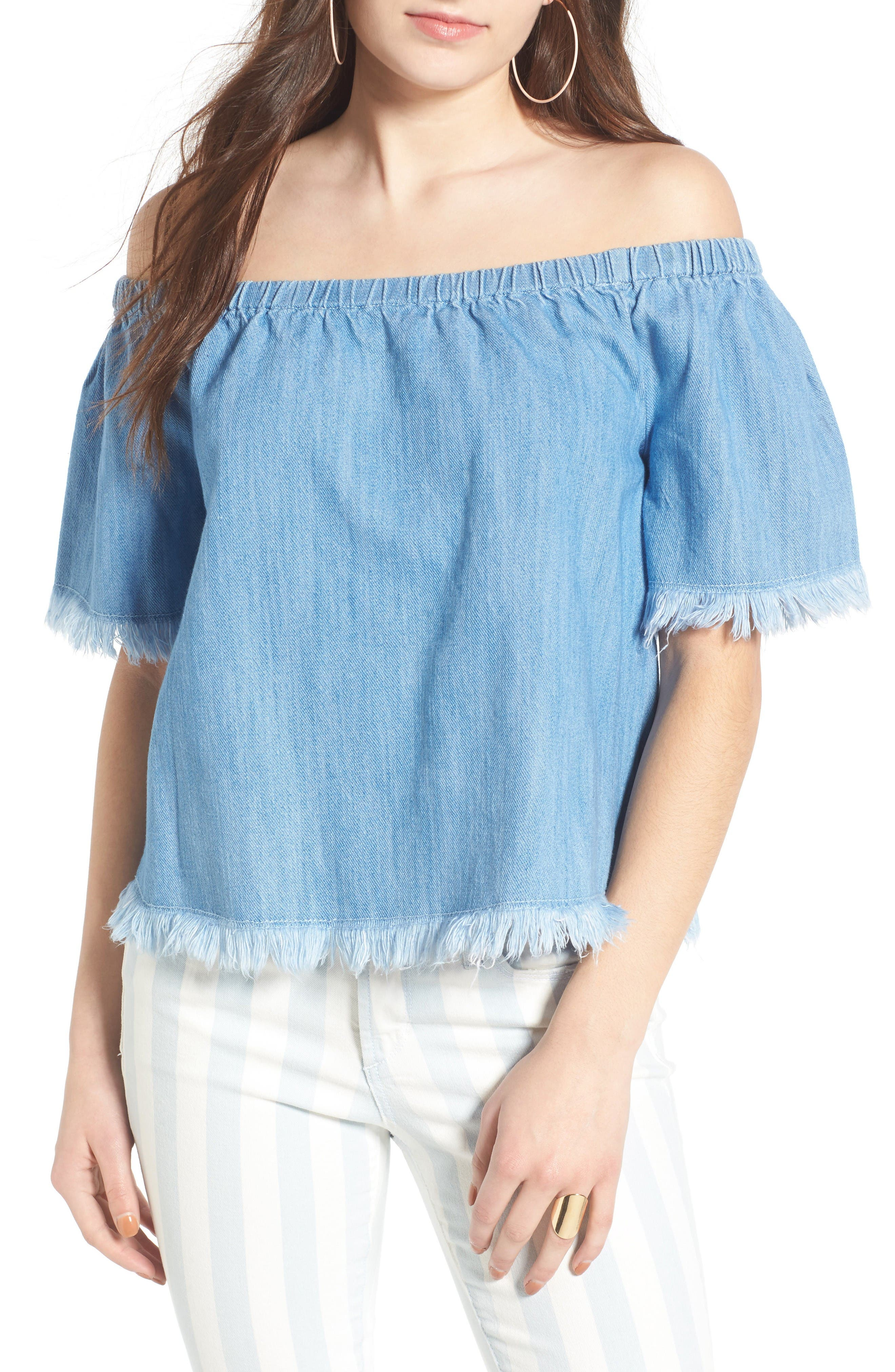 Frayed Denim Off the Shoulder Top,                             Main thumbnail 1, color,                             Light Wash