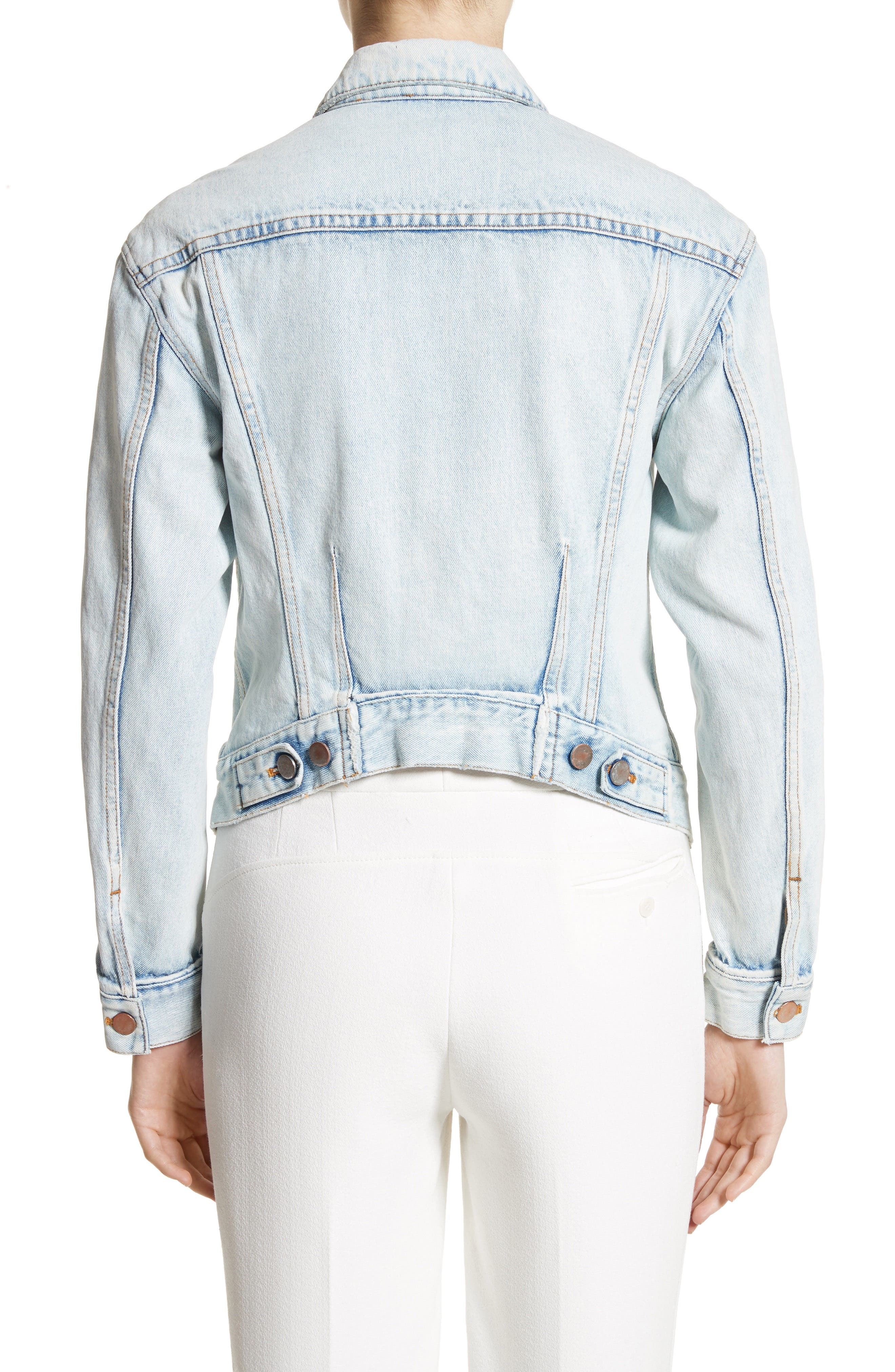 Zipper Detail Denim Jacket,                             Alternate thumbnail 2, color,                             Indigo