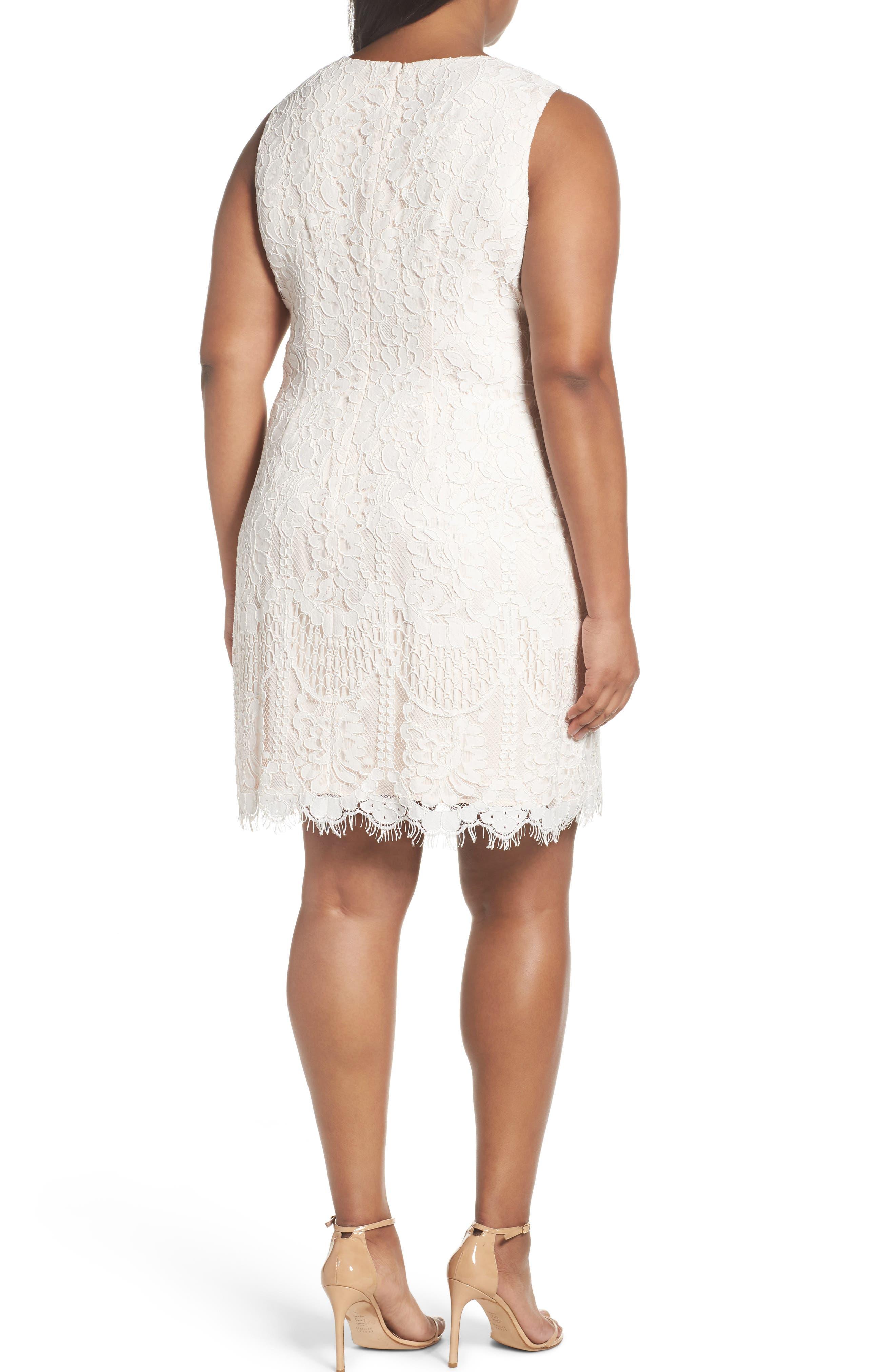 Lace Shift Dress,                             Alternate thumbnail 2, color,                             Ivory/ Beige