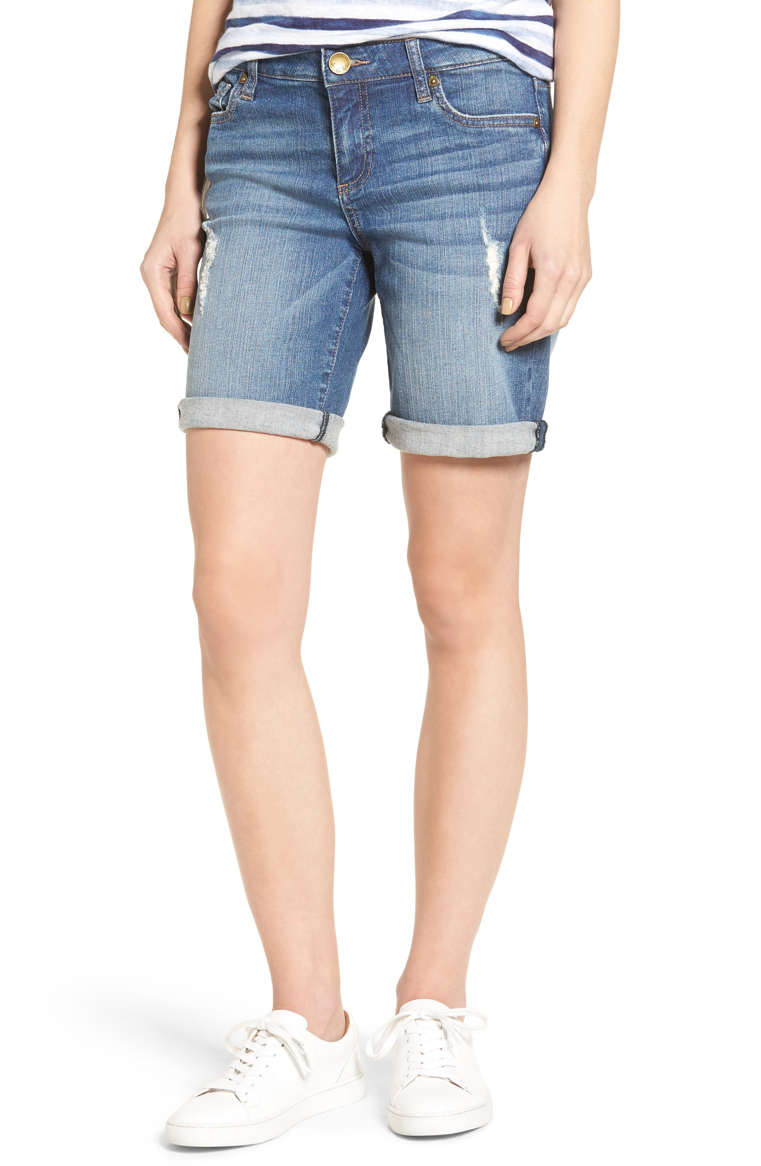 Alternate Image 1 Selected - KUT from the Kloth Catherine Distressed Denim Boyfriend Shorts