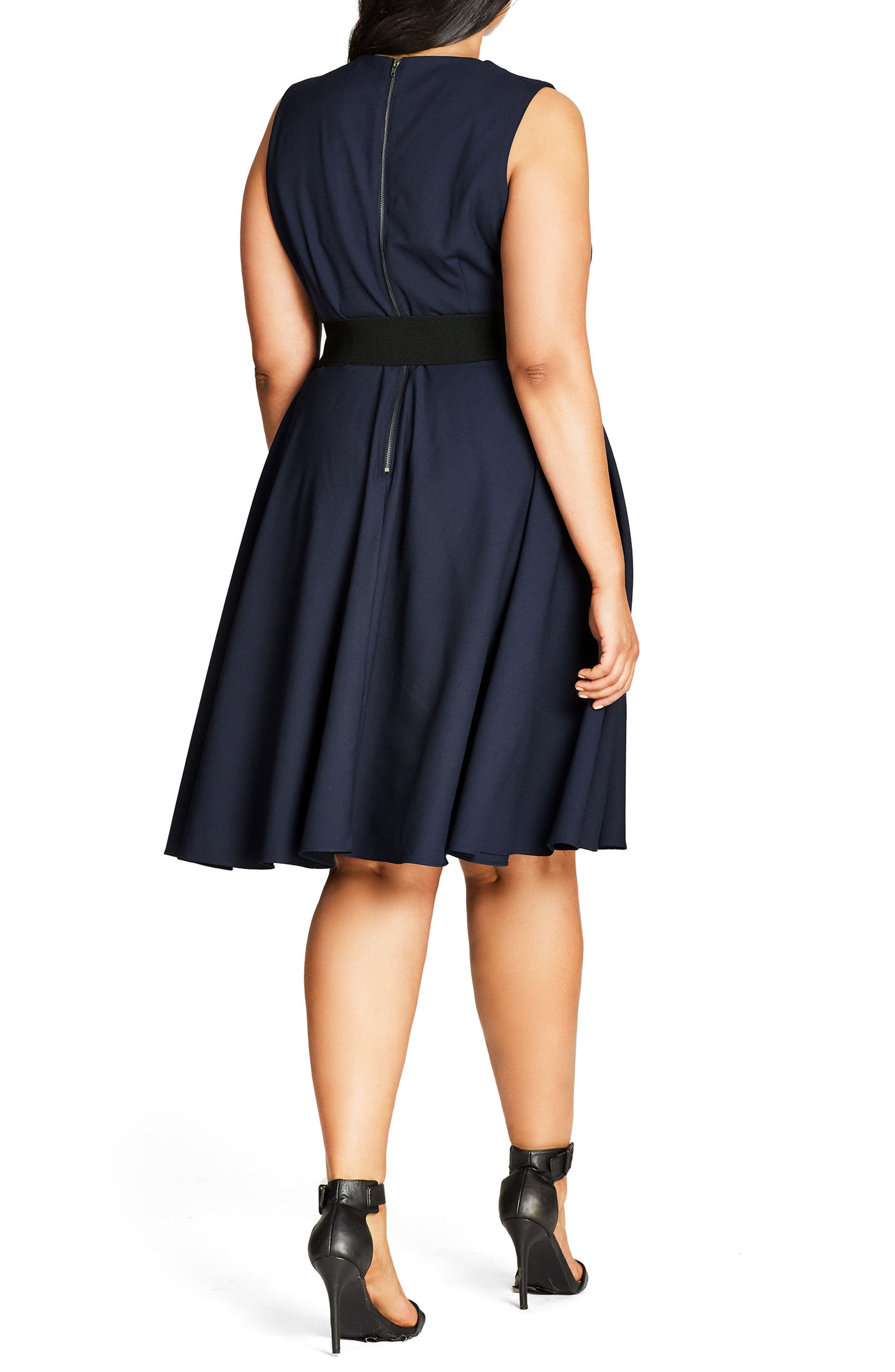 Vintage Veronica Belted Pleat Fit & Flare Dress,                             Alternate thumbnail 2, color,                             Navy