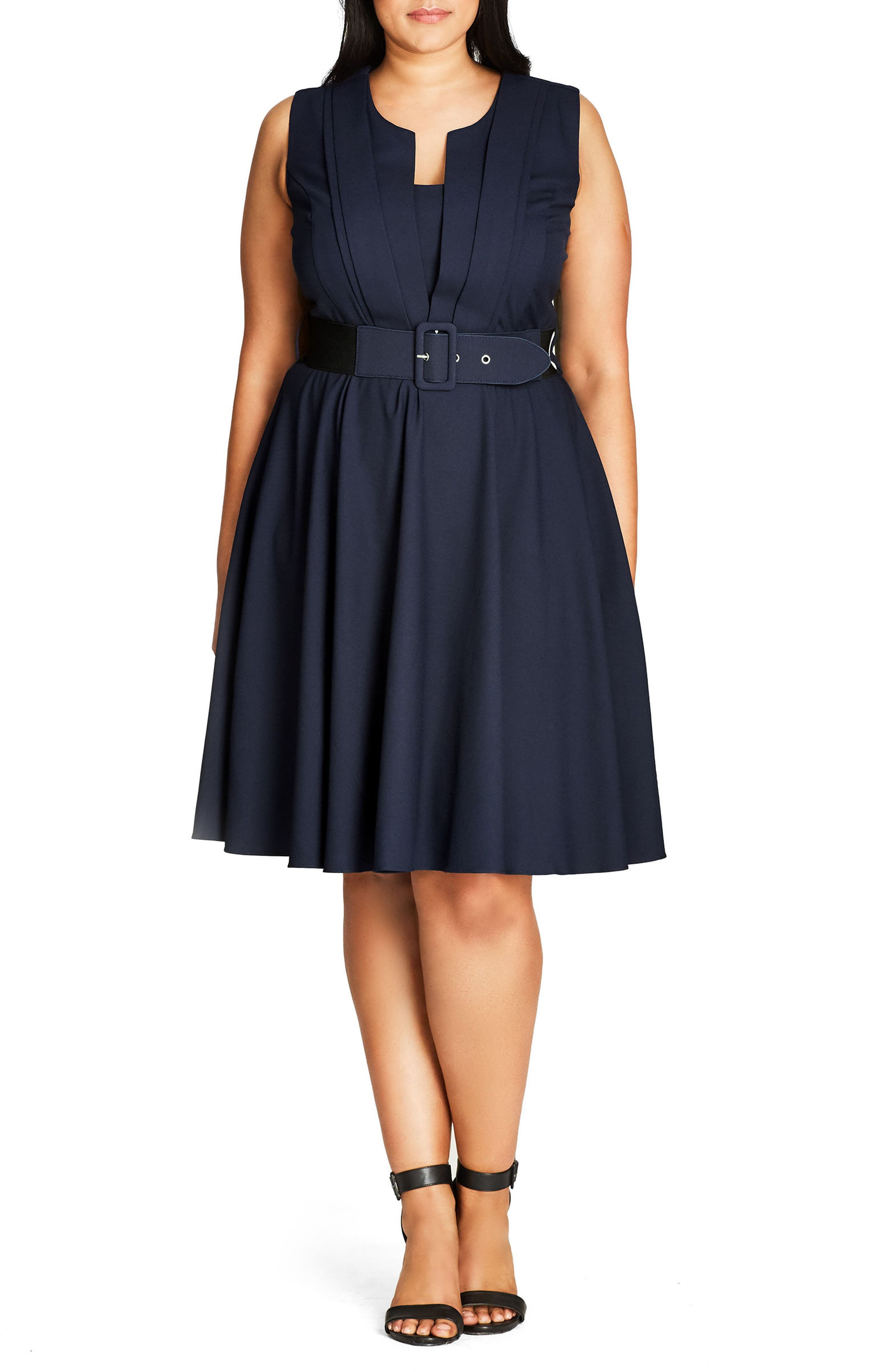 Vintage Veronica Belted Pleat Fit & Flare Dress,                             Main thumbnail 1, color,                             Navy