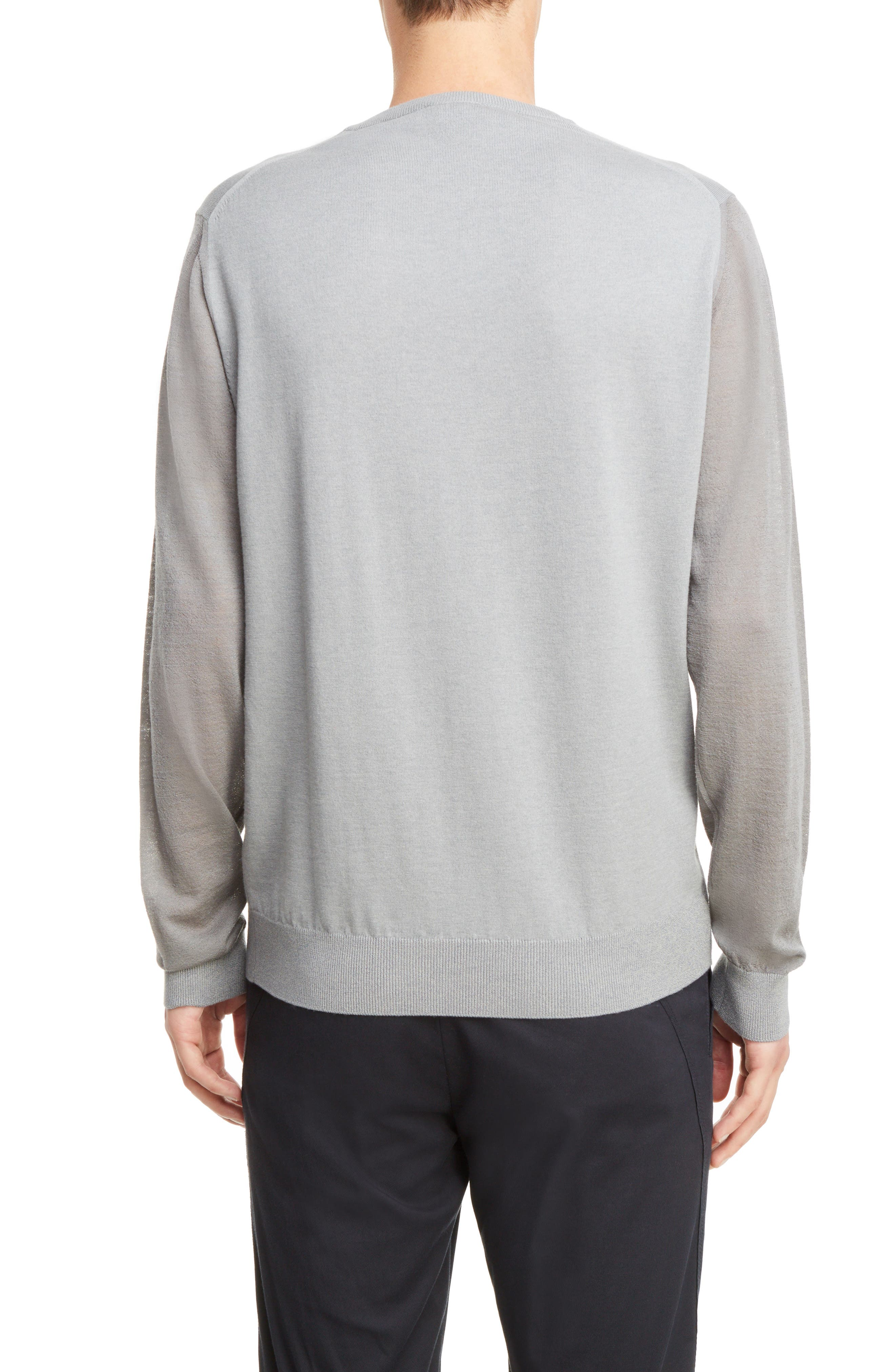 Cotton & Wool Colorblock Pullover,                             Alternate thumbnail 2, color,                             Light Grey