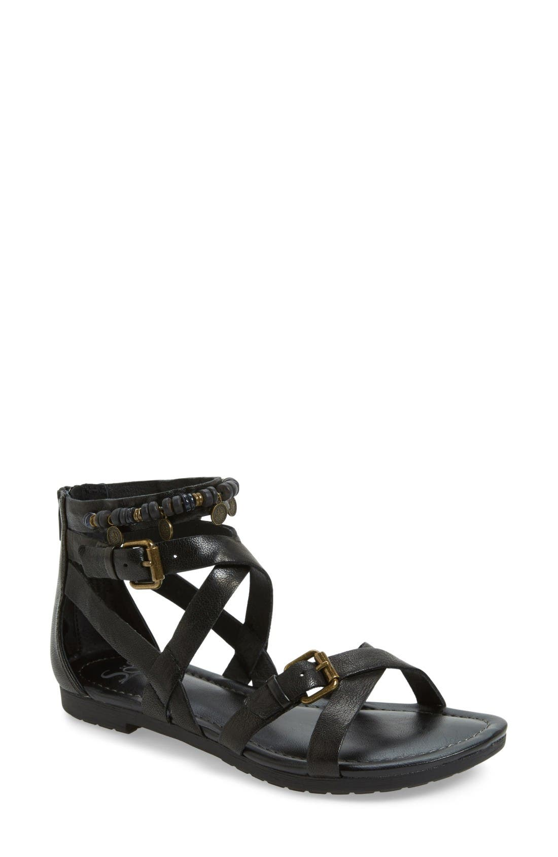 Boca Caged Sandal,                             Main thumbnail 1, color,                             Black Leather