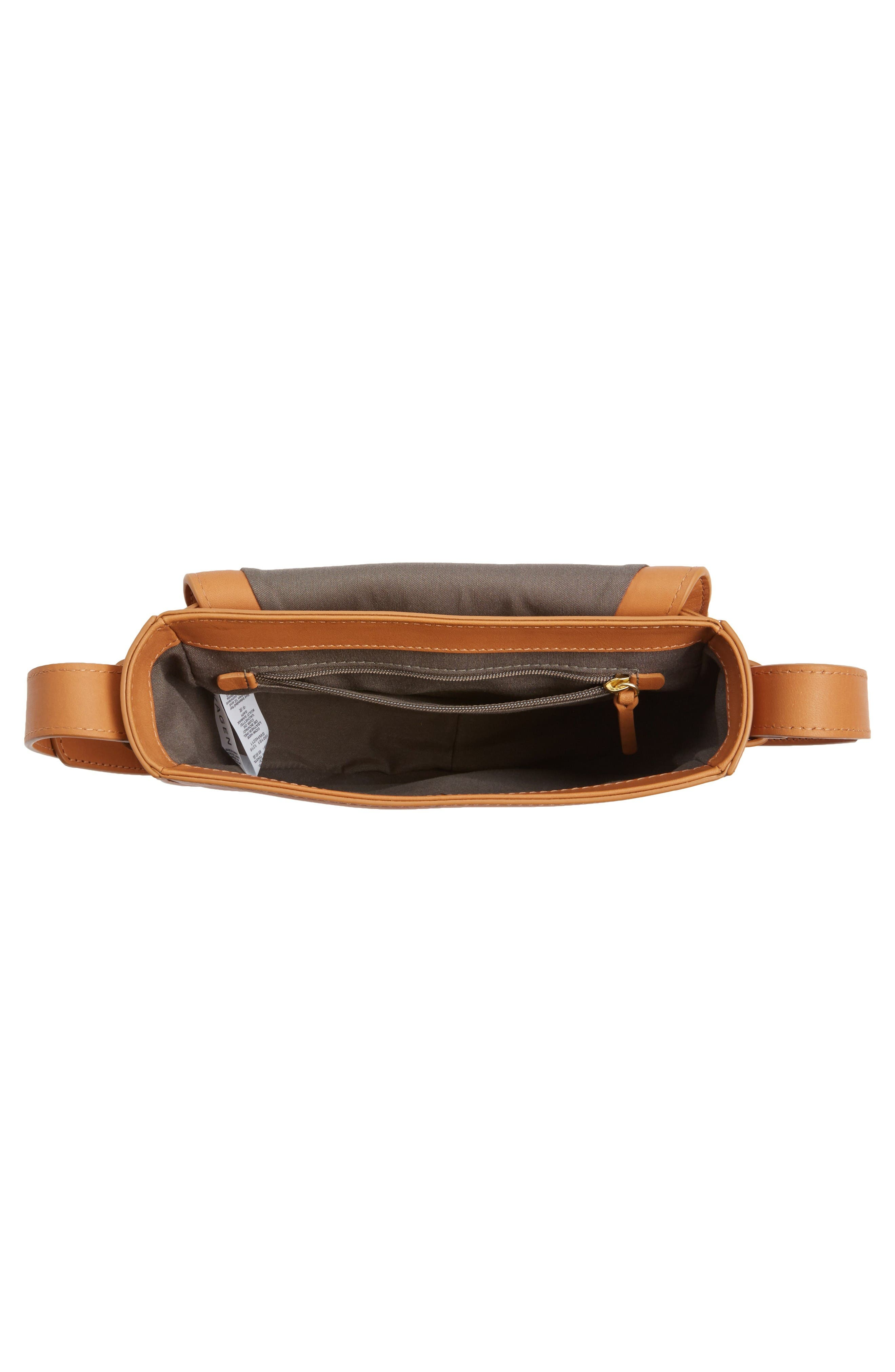 Lobelle Leather Saddle Bag,                             Alternate thumbnail 4, color,                             Tan