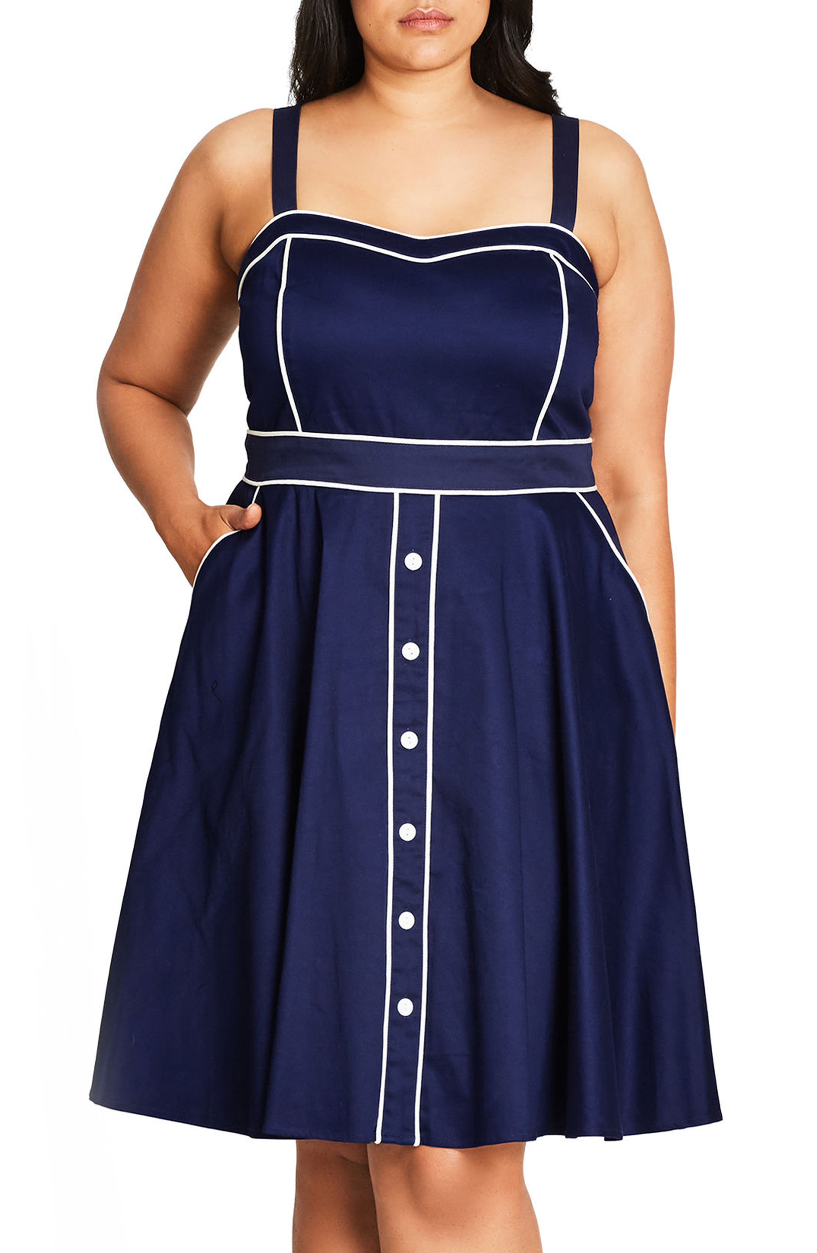 City Chic Darling Contrast Piped Fit & Flare Sundress