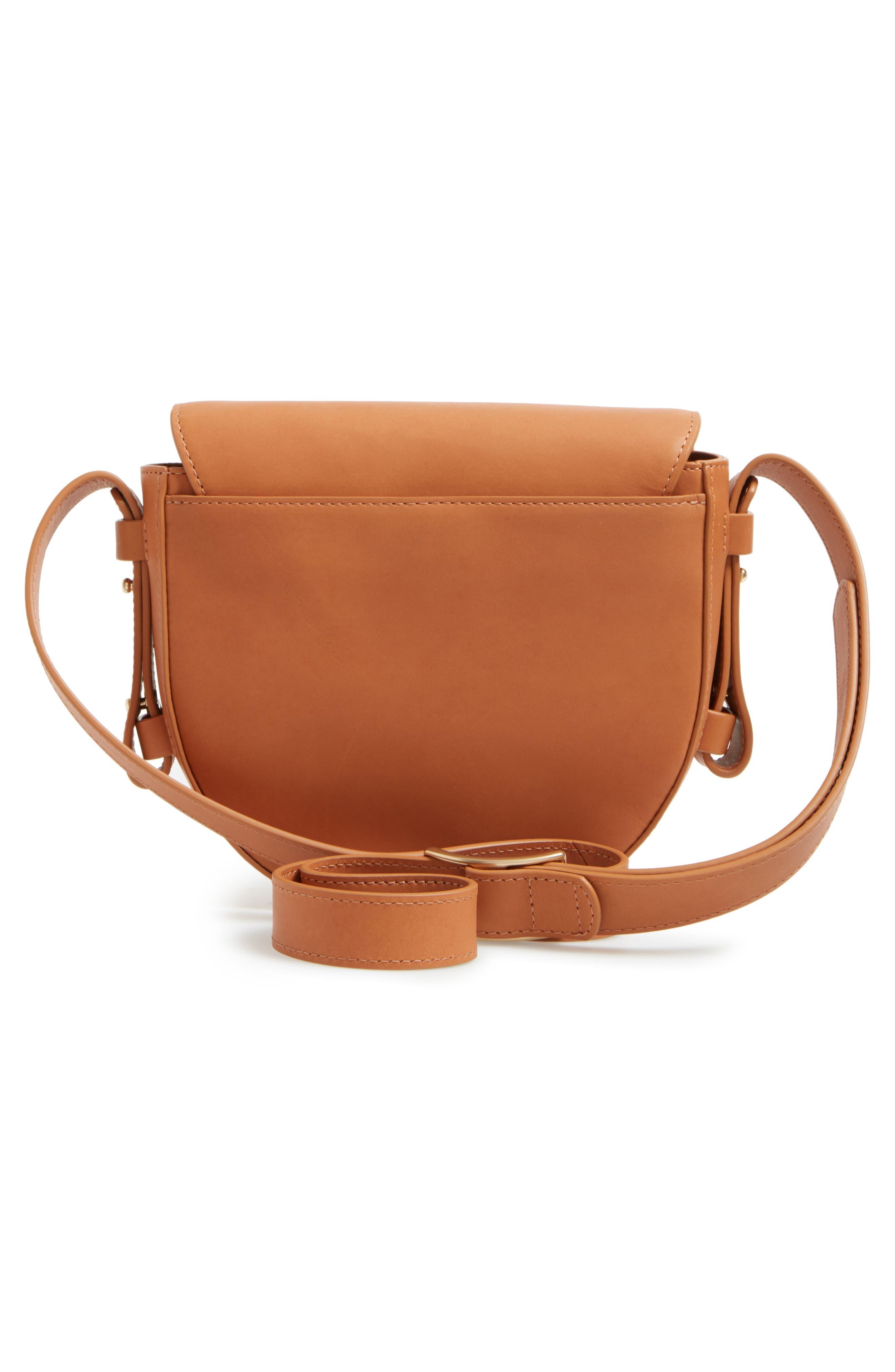 Lobelle Leather Saddle Bag,                             Alternate thumbnail 3, color,                             Tan