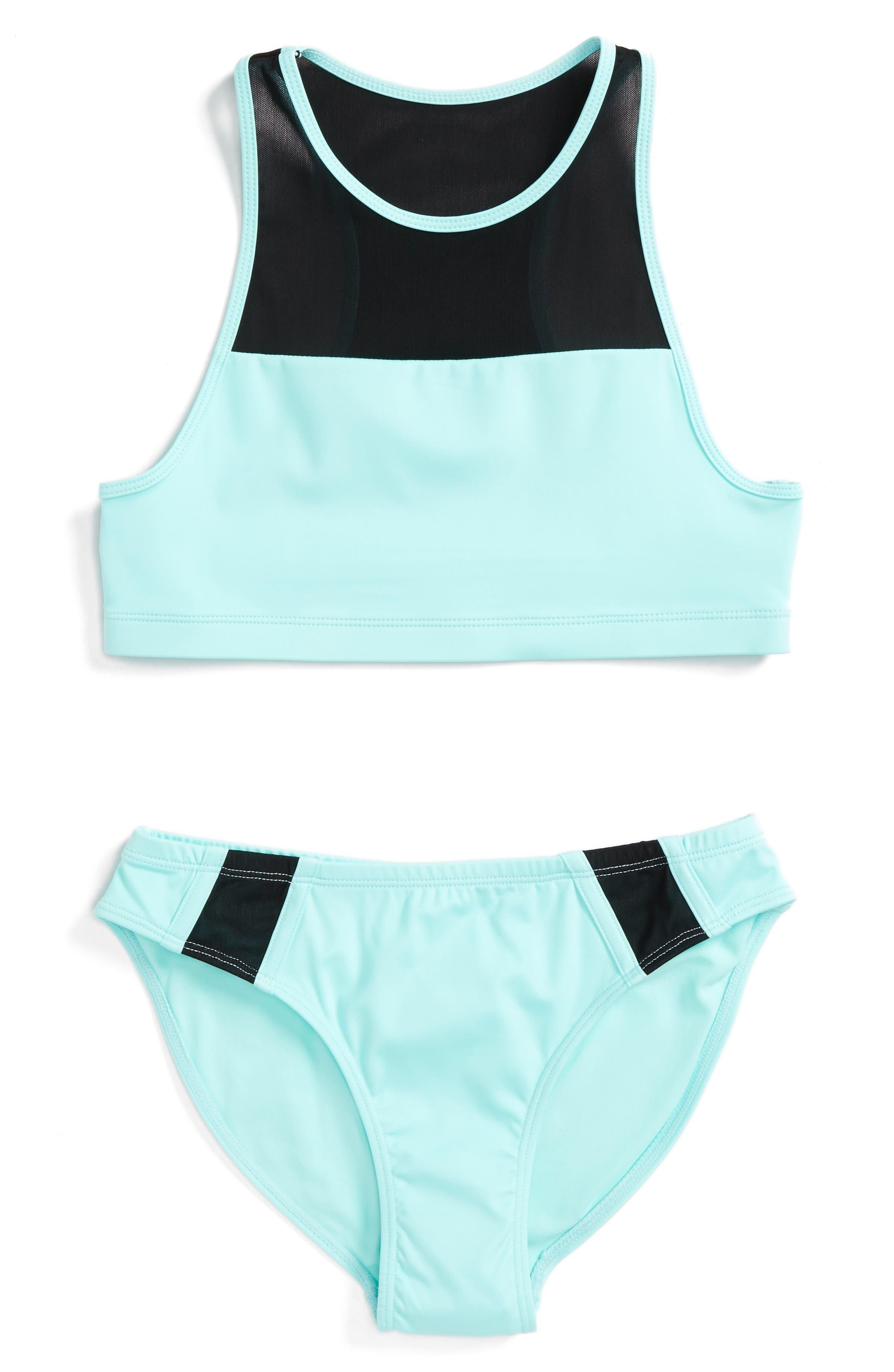 Mesh Trim Two-Piece Swimsuit,                         Main,                         color, Teal Aruba