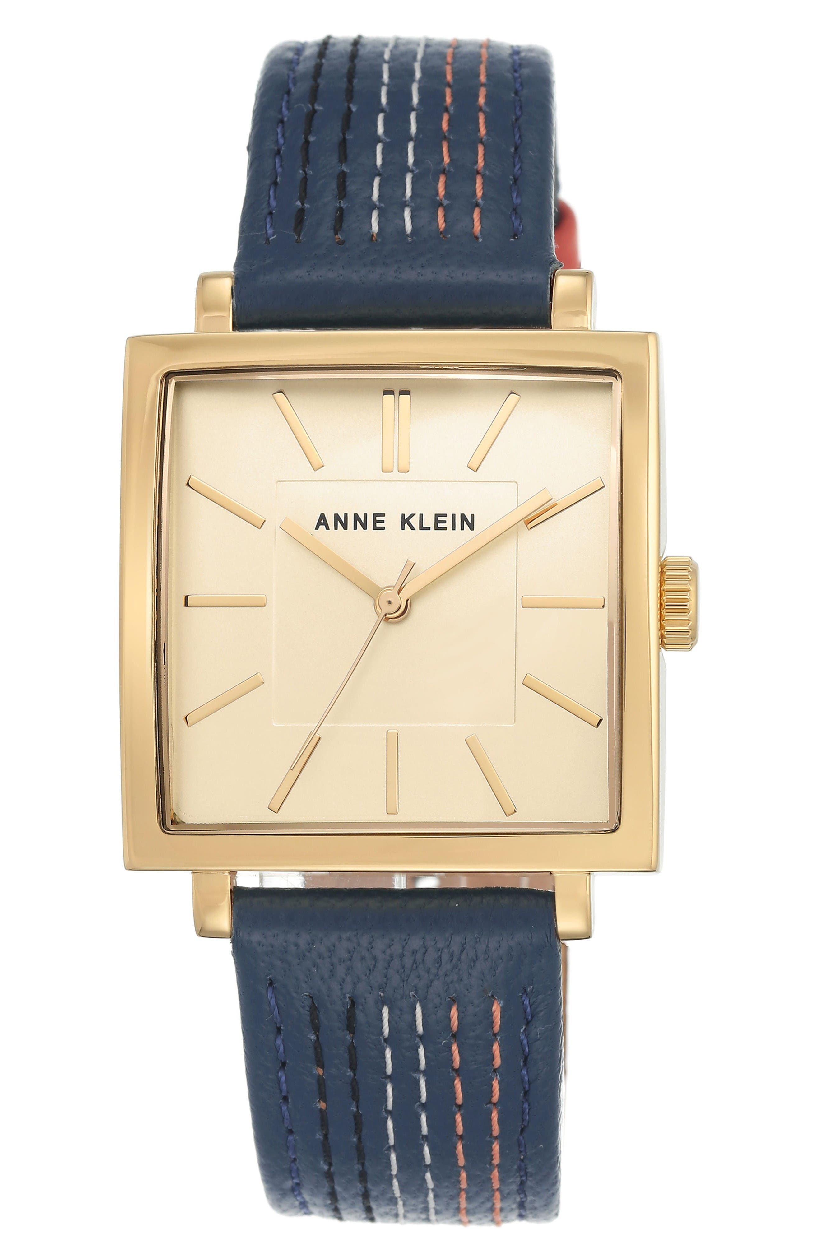 Square Leather Strap Watch, 42mm x 34mm,                         Main,                         color, Blue Stitched/ Gold