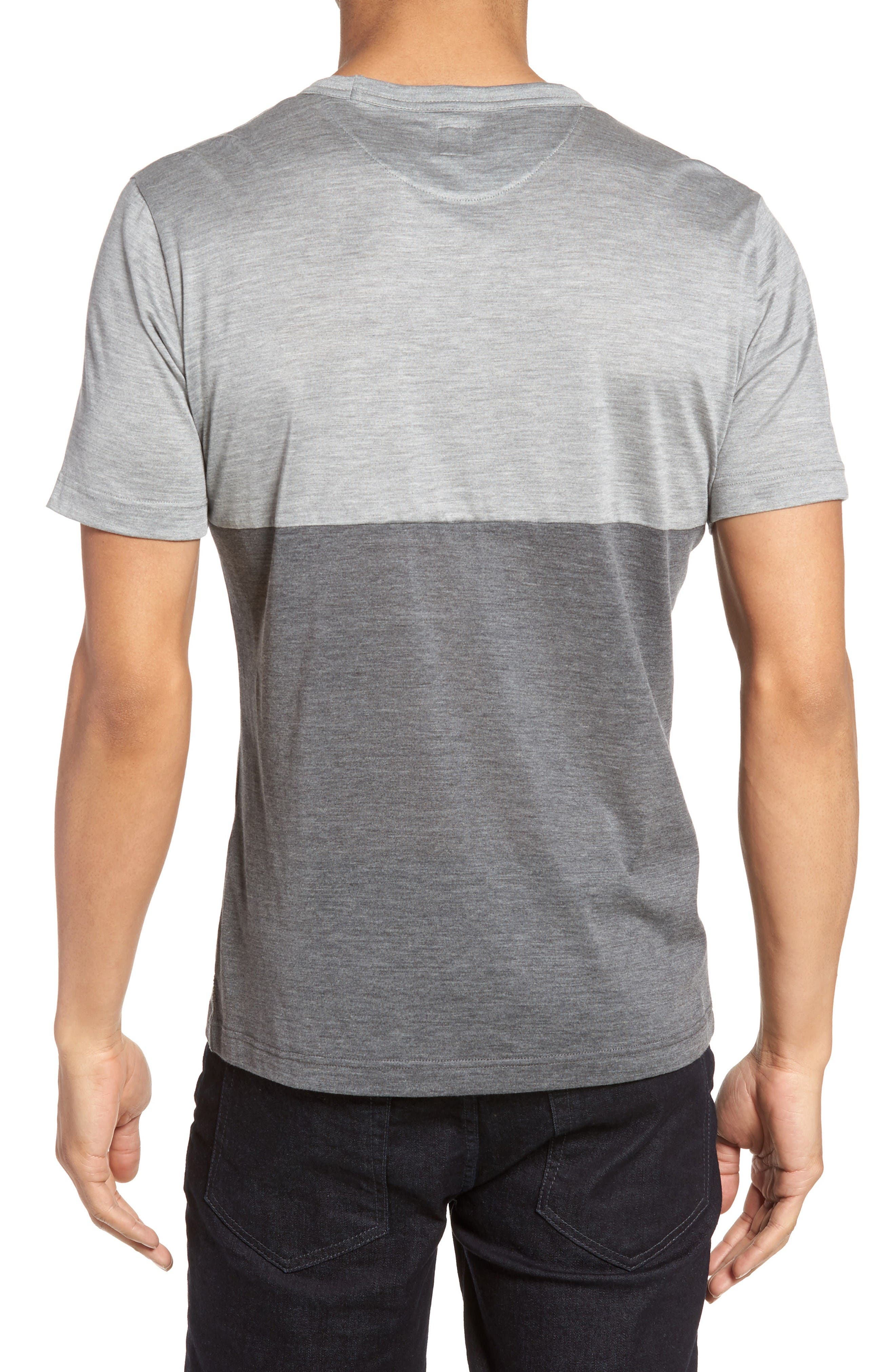Colorblock Silk & Cotton T-Shirt,                             Alternate thumbnail 2, color,                             Light Grey/ Dark Grey