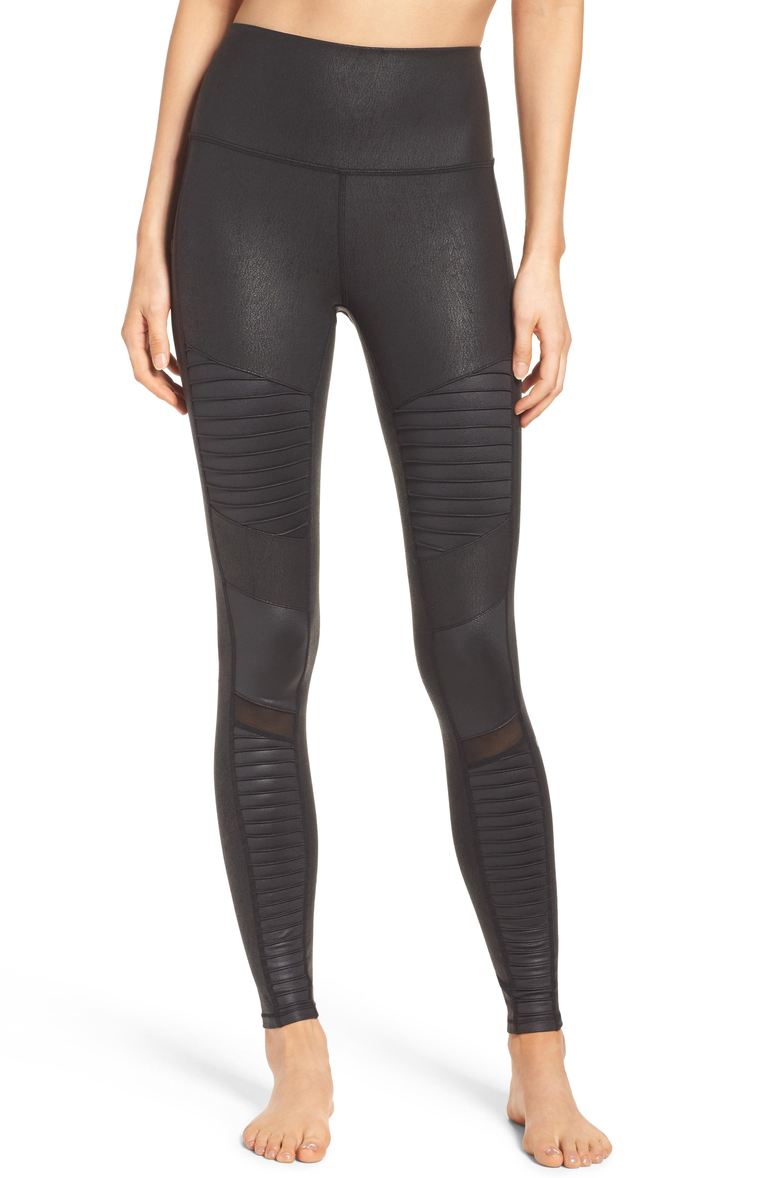 High Waist Moto Leggings,                         Main,                         color, Black Performance Leather
