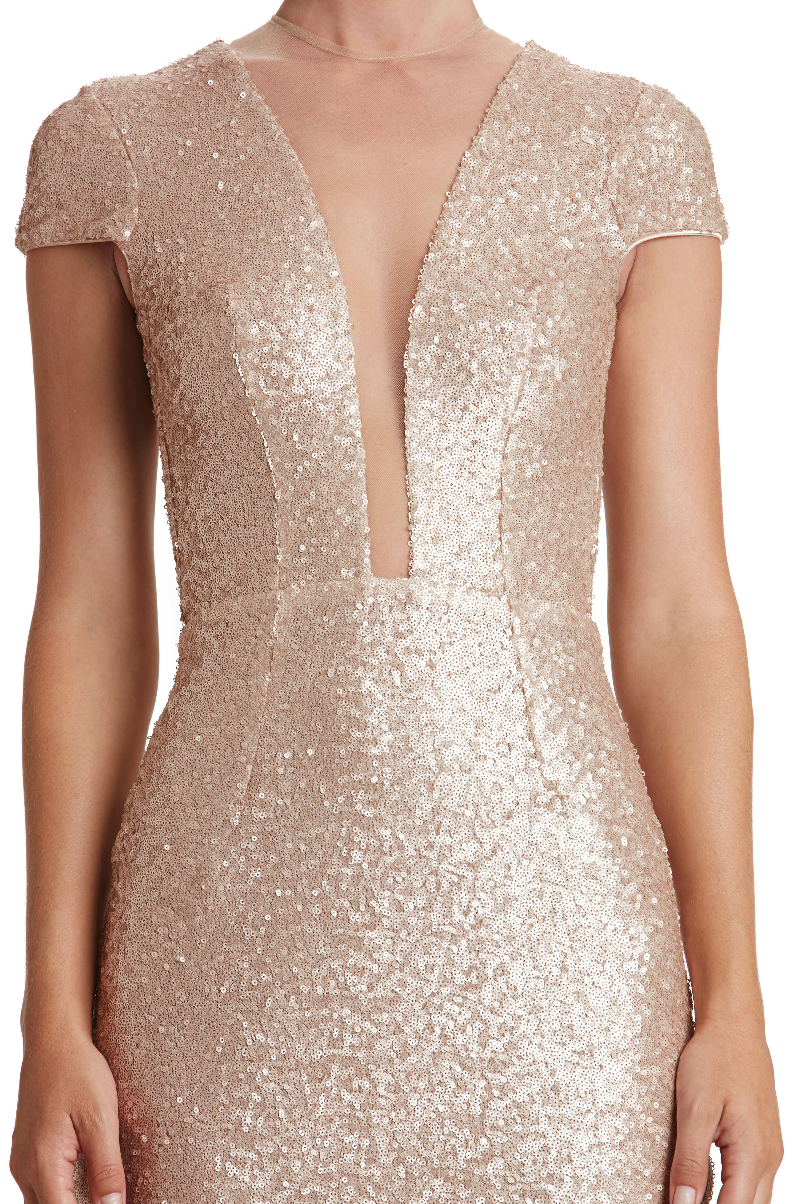 Kylie Sequin Minidress,                             Alternate thumbnail 5, color,                             Pale Blush