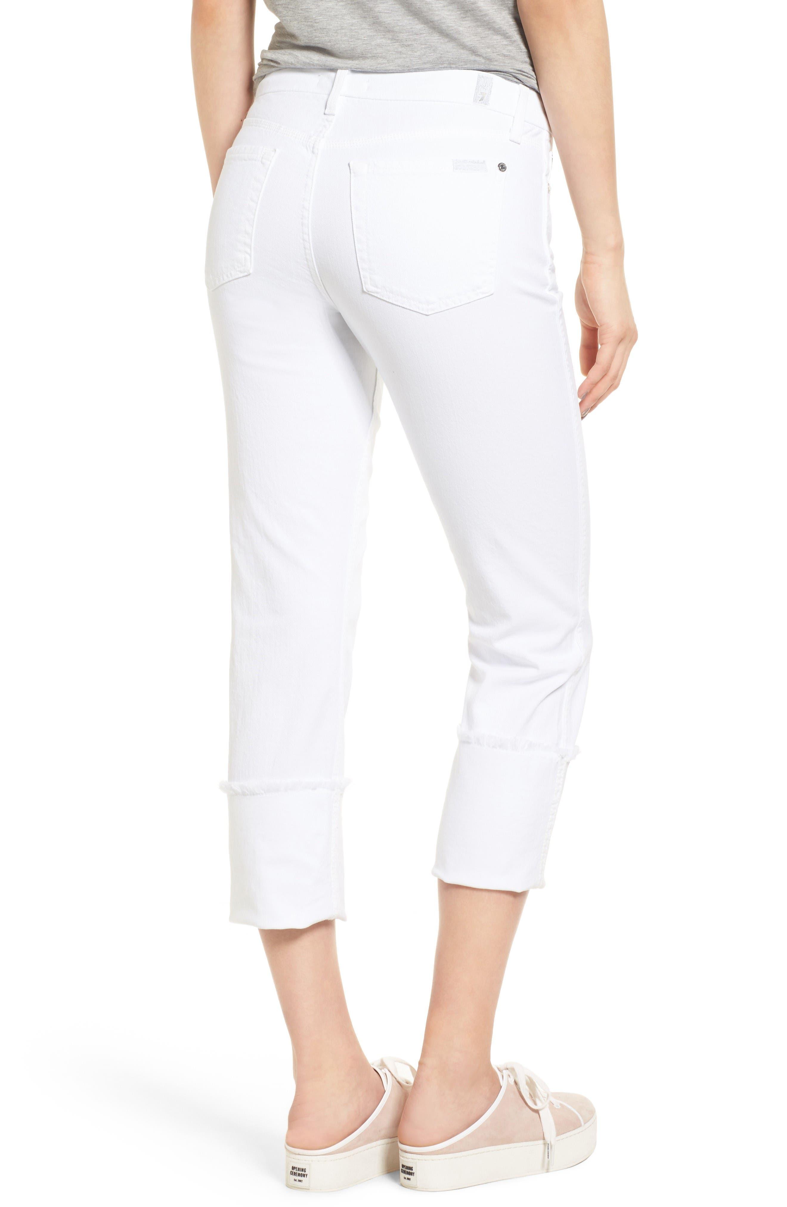 Fashion Boyfriend Raw Cuffed Jeans,                             Alternate thumbnail 2, color,                             White Fashion
