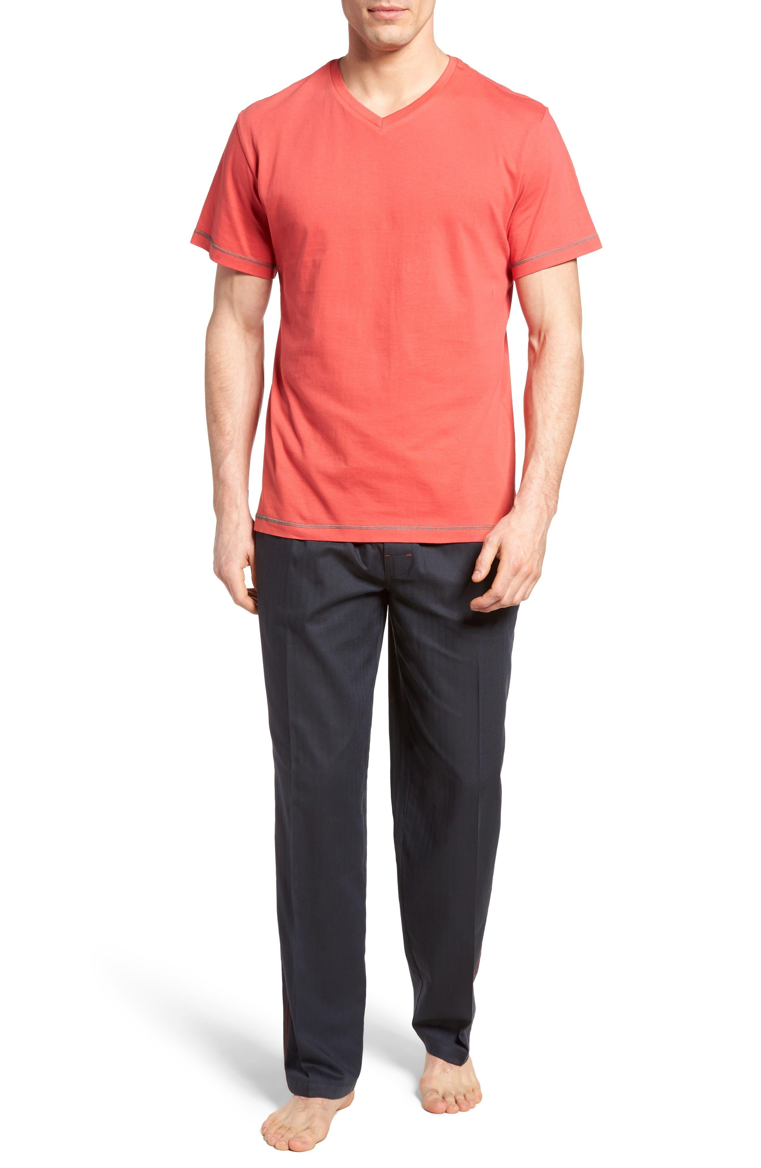 Fusion Pajama Set,                             Main thumbnail 1, color,                             Red/ Lead