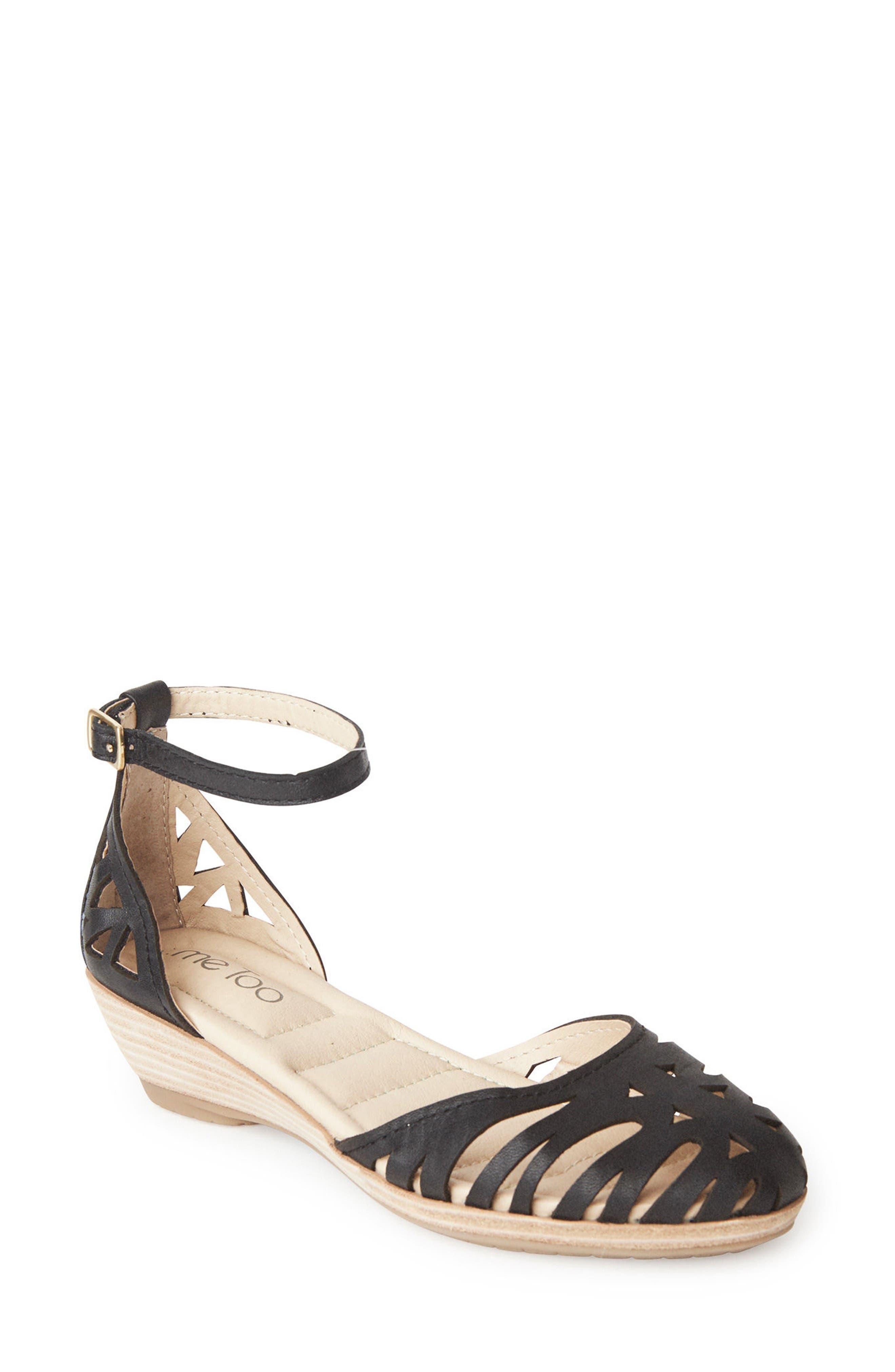Nalani Ankle Strap Sandal,                         Main,                         color, Black Leather