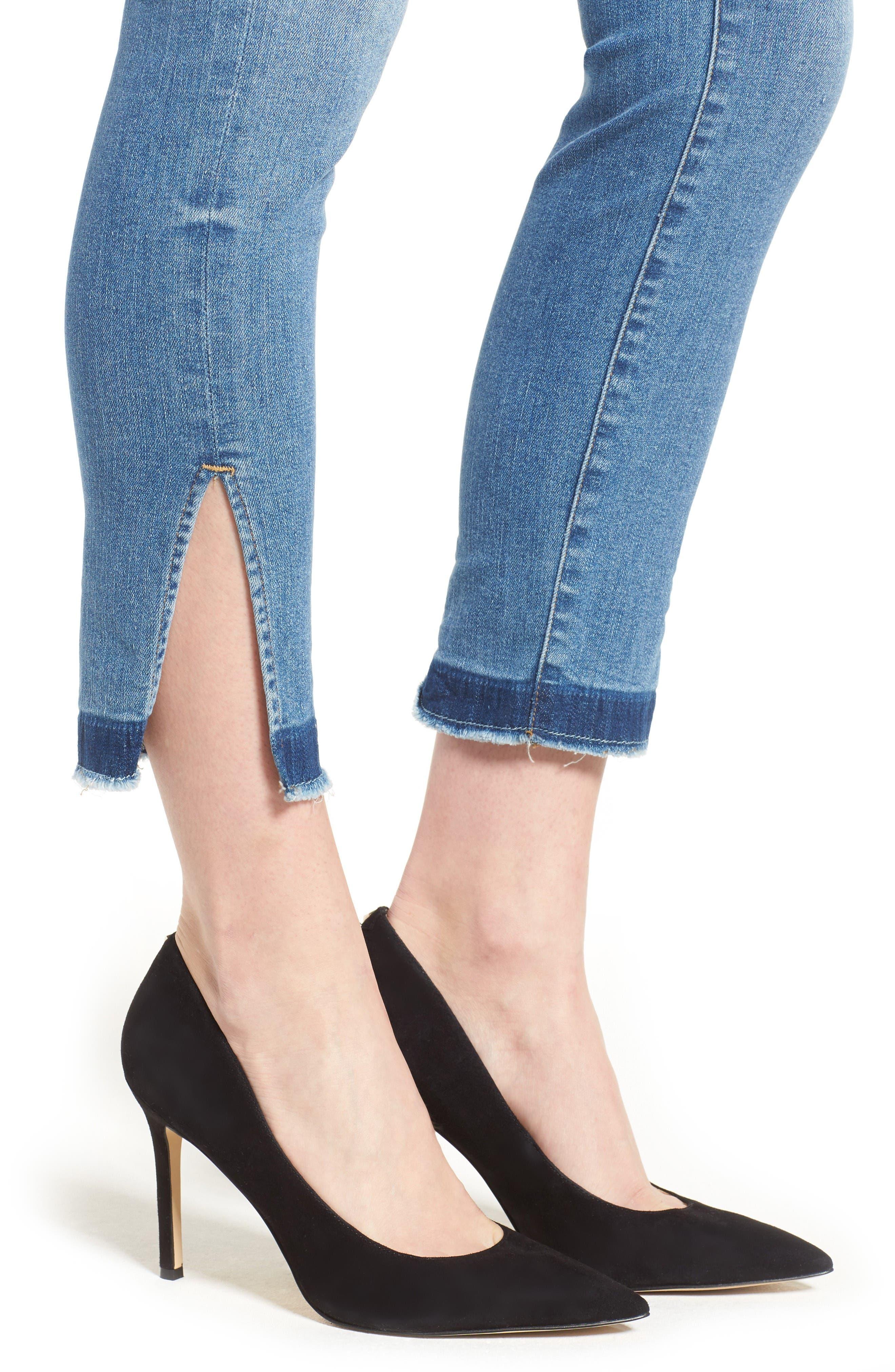 Good Legs High Rise Split Hem Crop Skinny Jeans,                             Alternate thumbnail 4, color,                             Blue 024