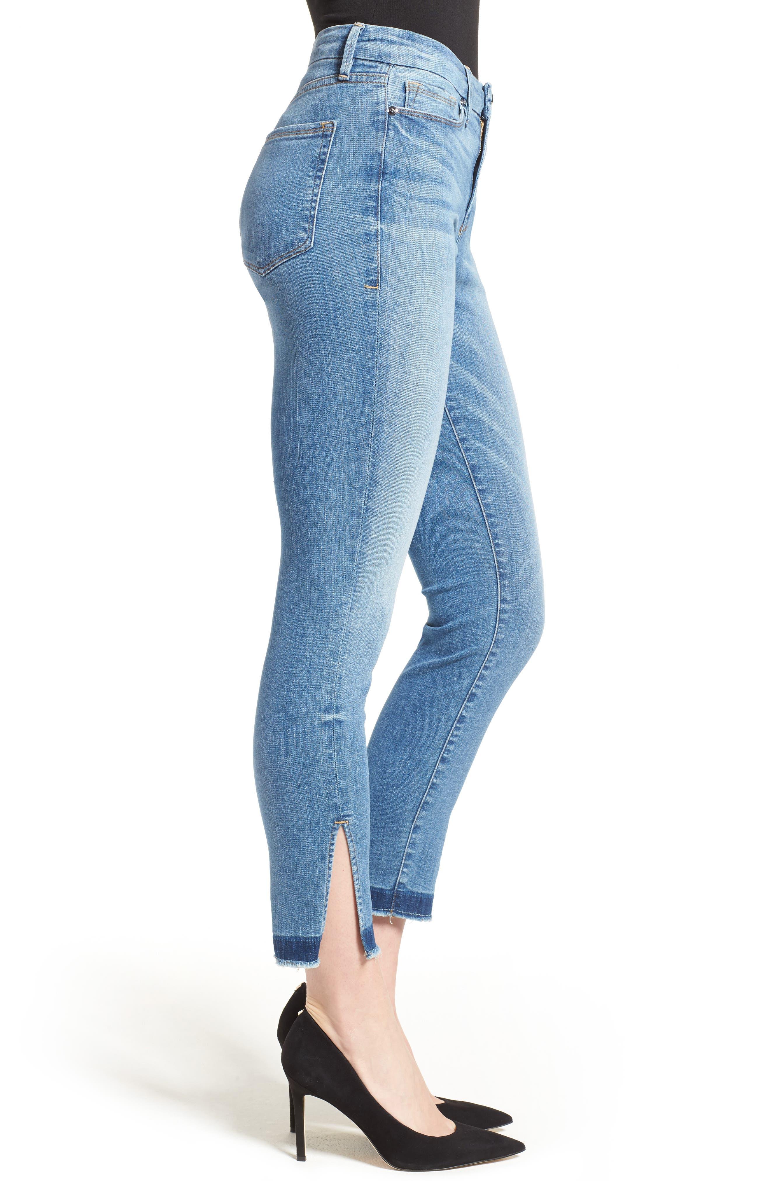 Good Legs High Rise Split Hem Crop Skinny Jeans,                             Alternate thumbnail 3, color,                             Blue 024