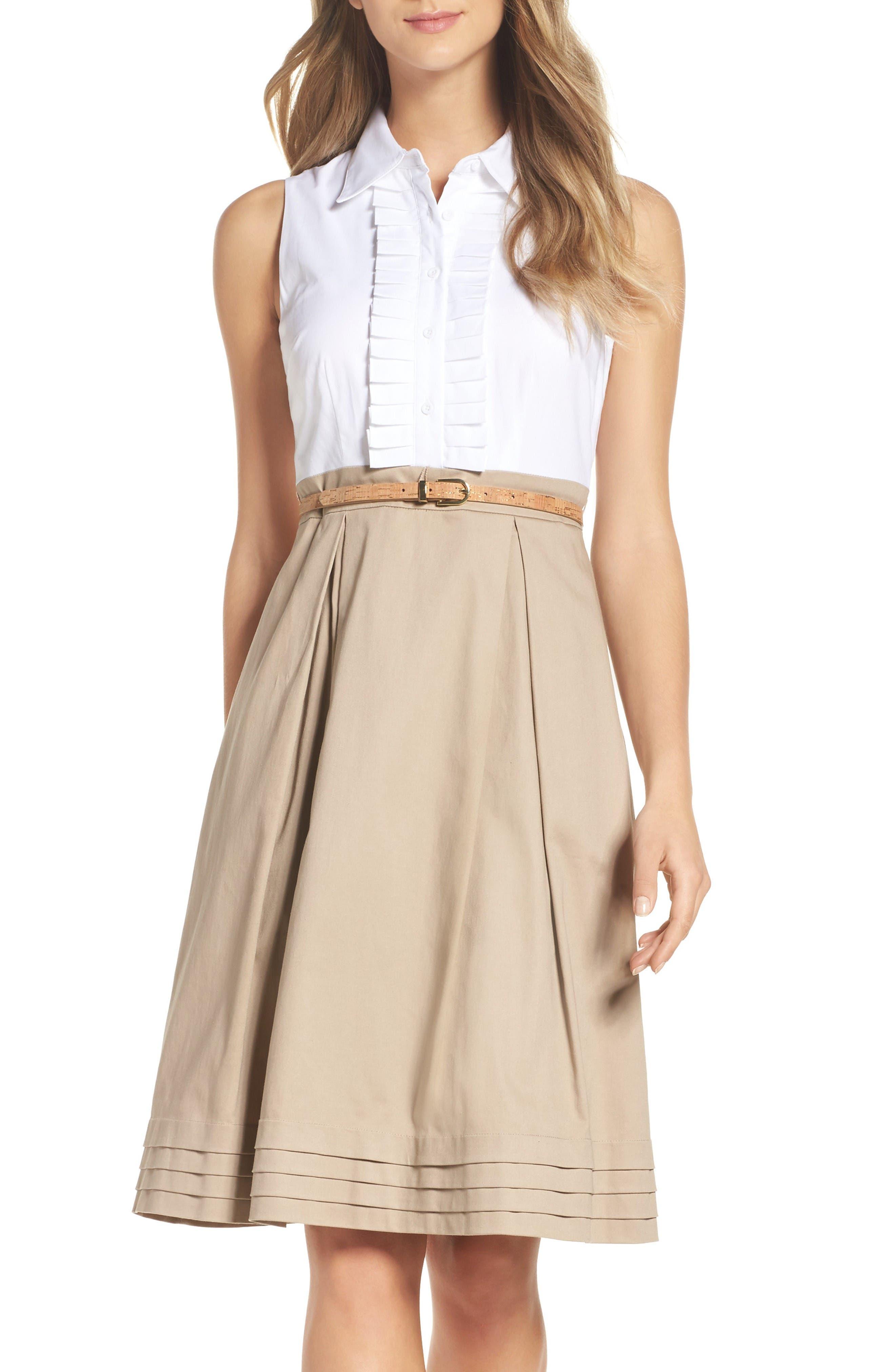 Alternate Image 1 Selected - Eliza J Ruffle Shirtdress (Regular & Petite)