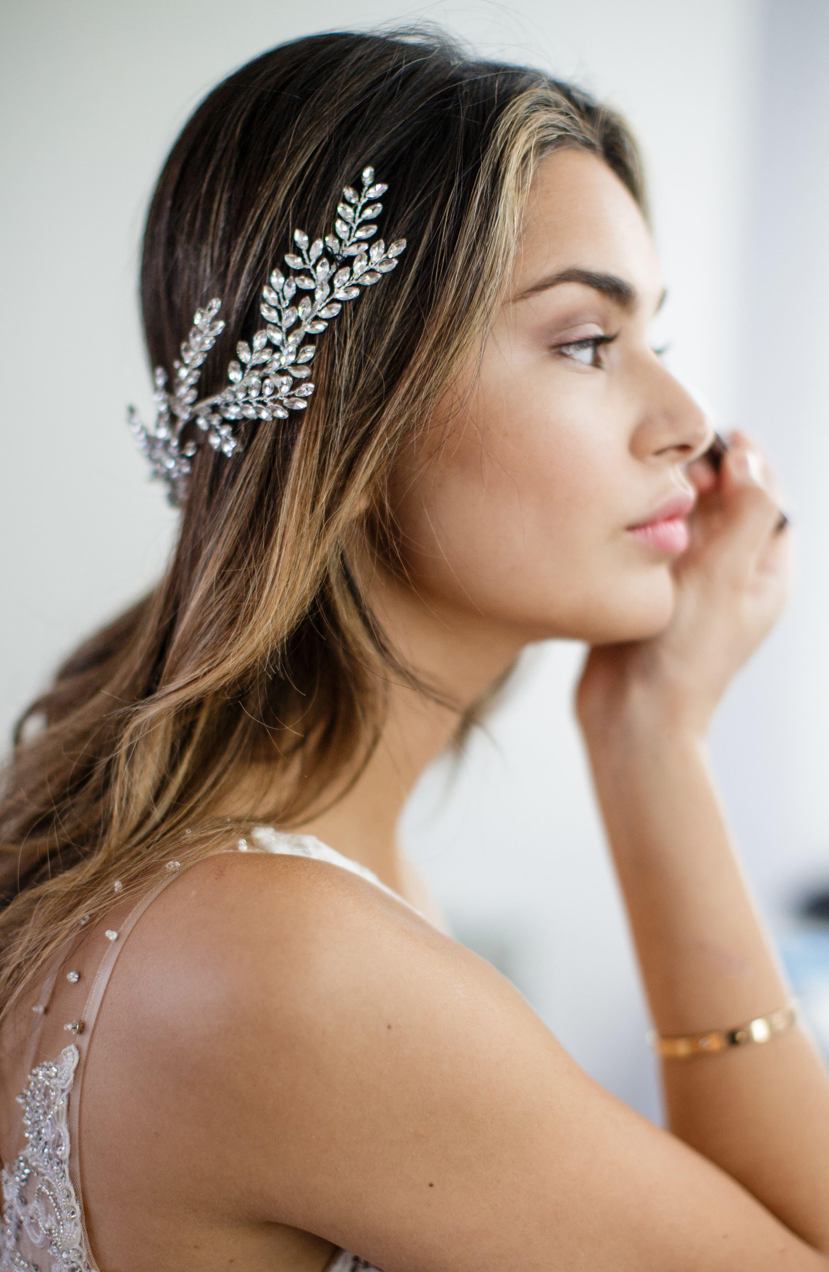 Alternate Image 3  - Brides & Hairpins Kira Crystal Halo & Sash