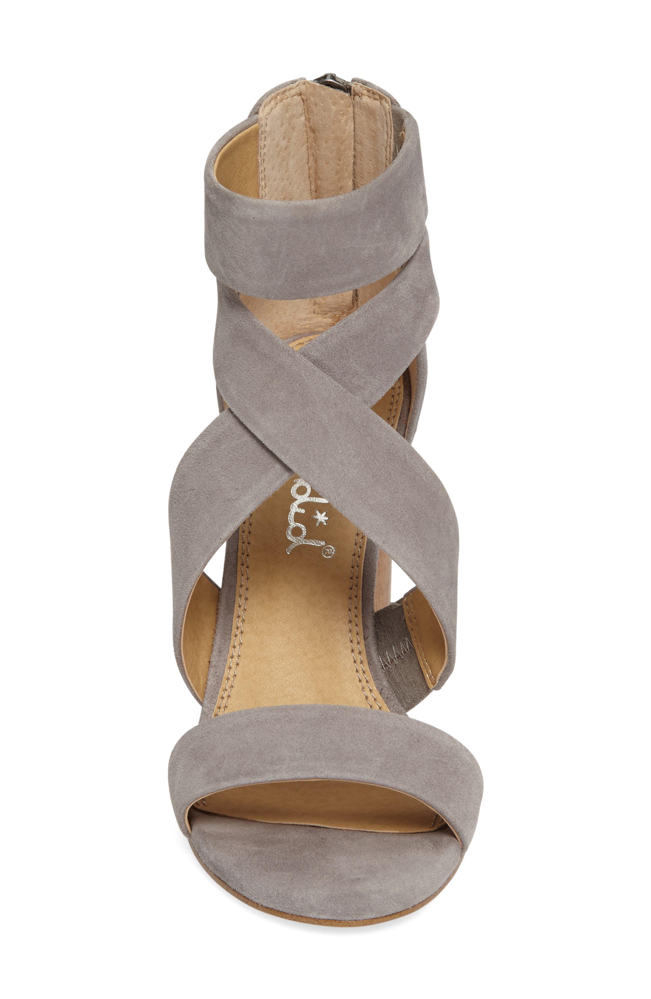 Jara Statement Heel Sandal,                             Alternate thumbnail 3, color,                             Light Grey Suede