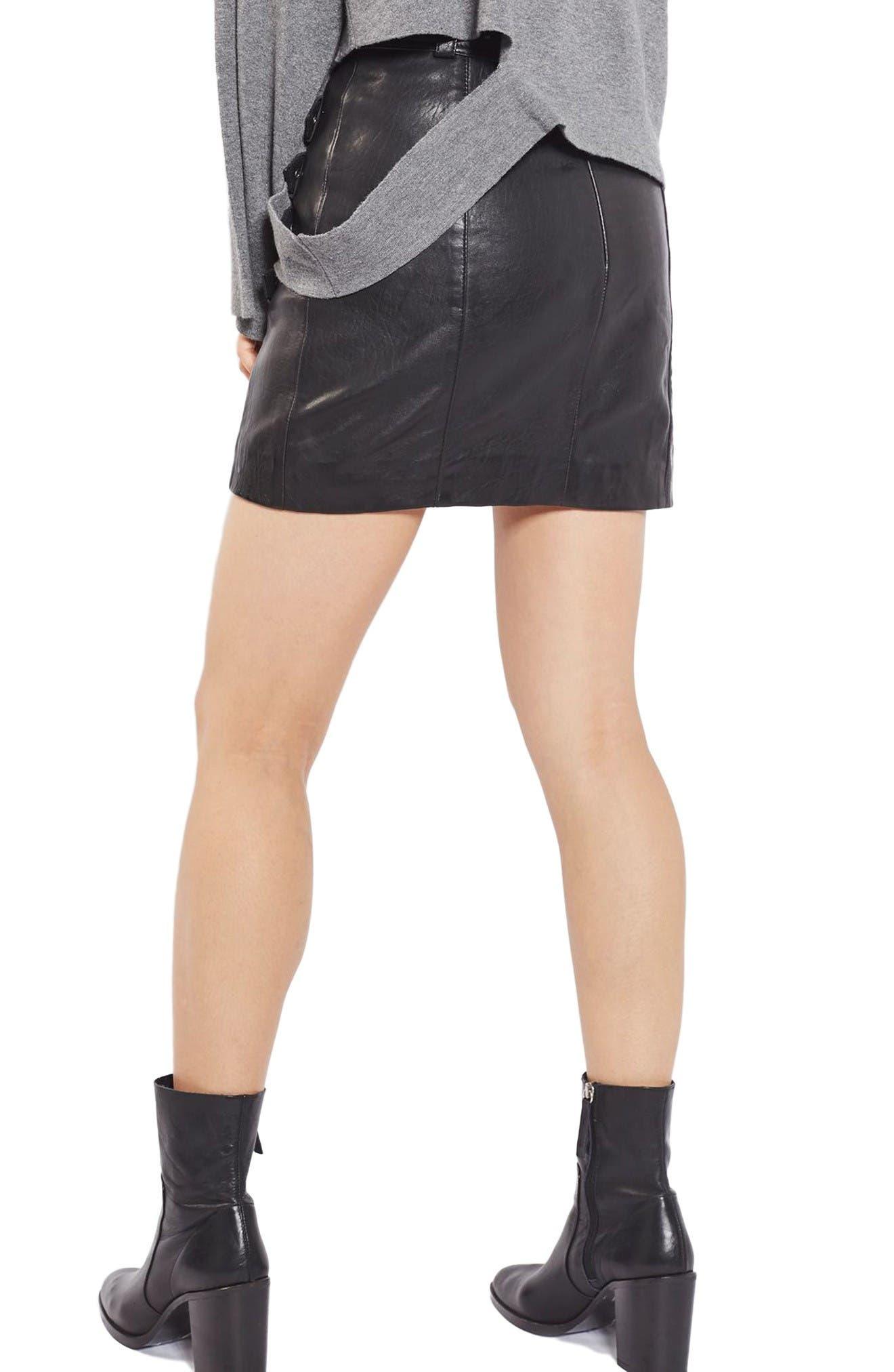 Alternate Image 3  - Topshop Buckle Detail Leather Miniskirt