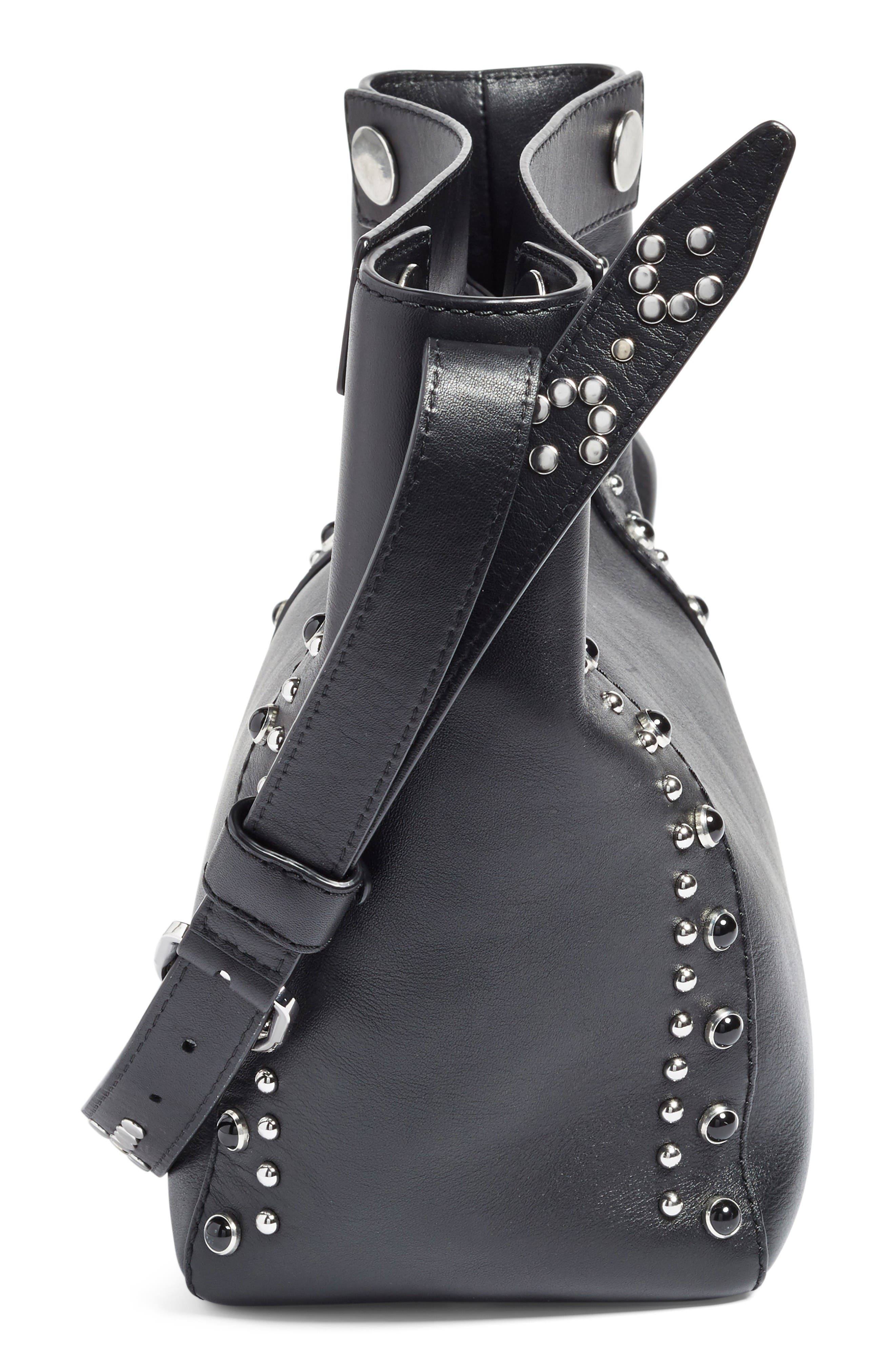 Small Dolly Studded Leather Tote,                             Alternate thumbnail 4, color,                             Black