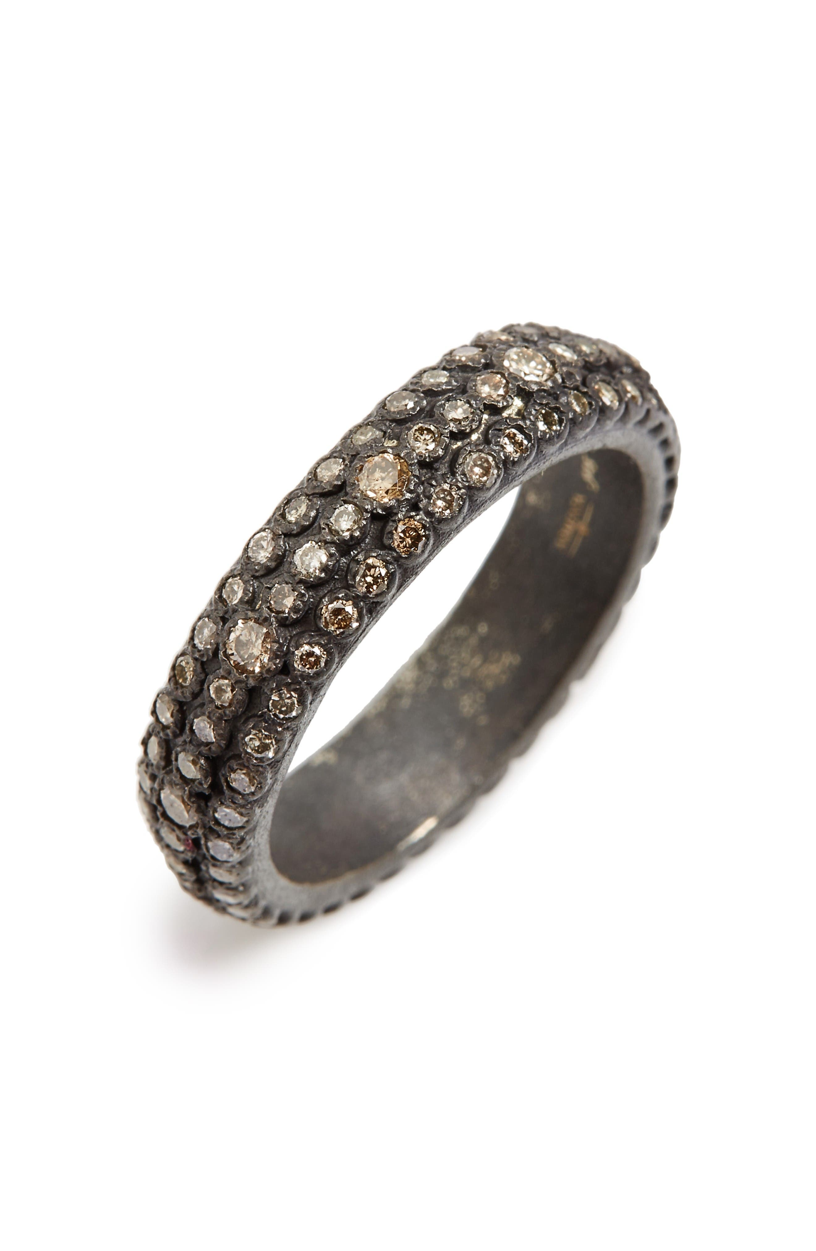 Old World Eternity Diamond Stack Ring,                             Main thumbnail 1, color,                             Silver