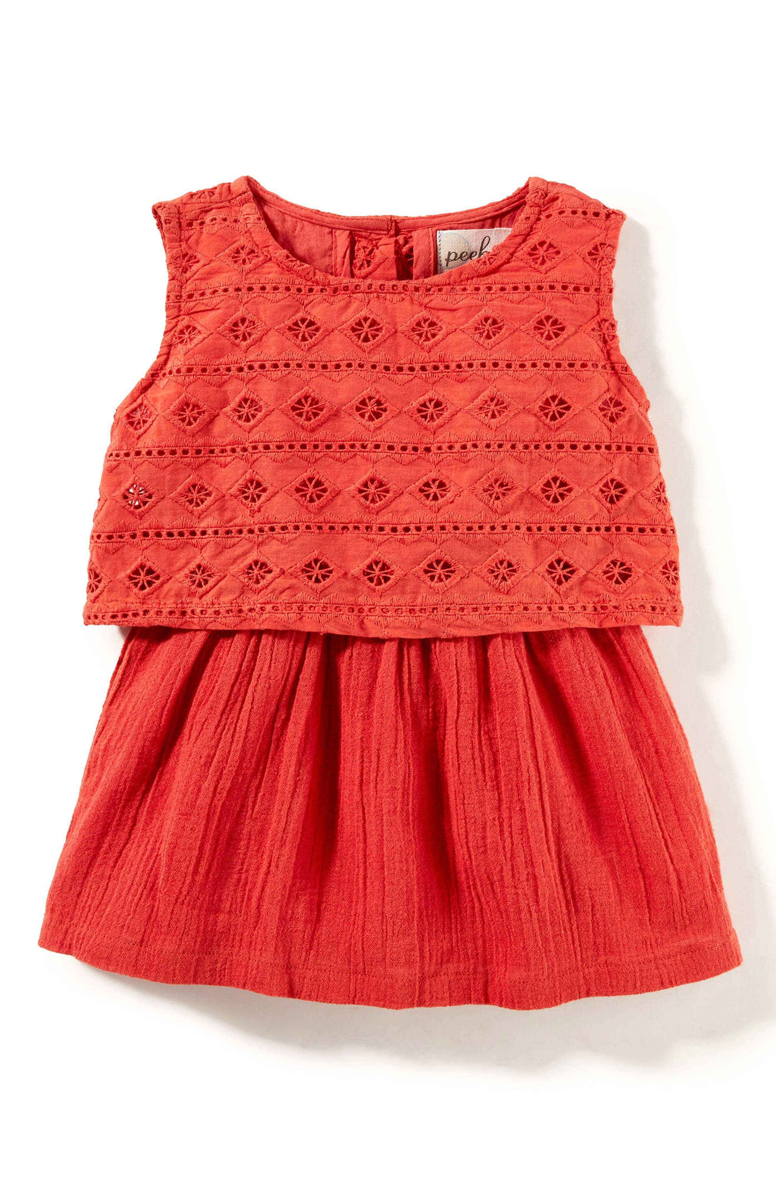 Main Image - Peek Embroidered Popover Dress (Baby Girls)