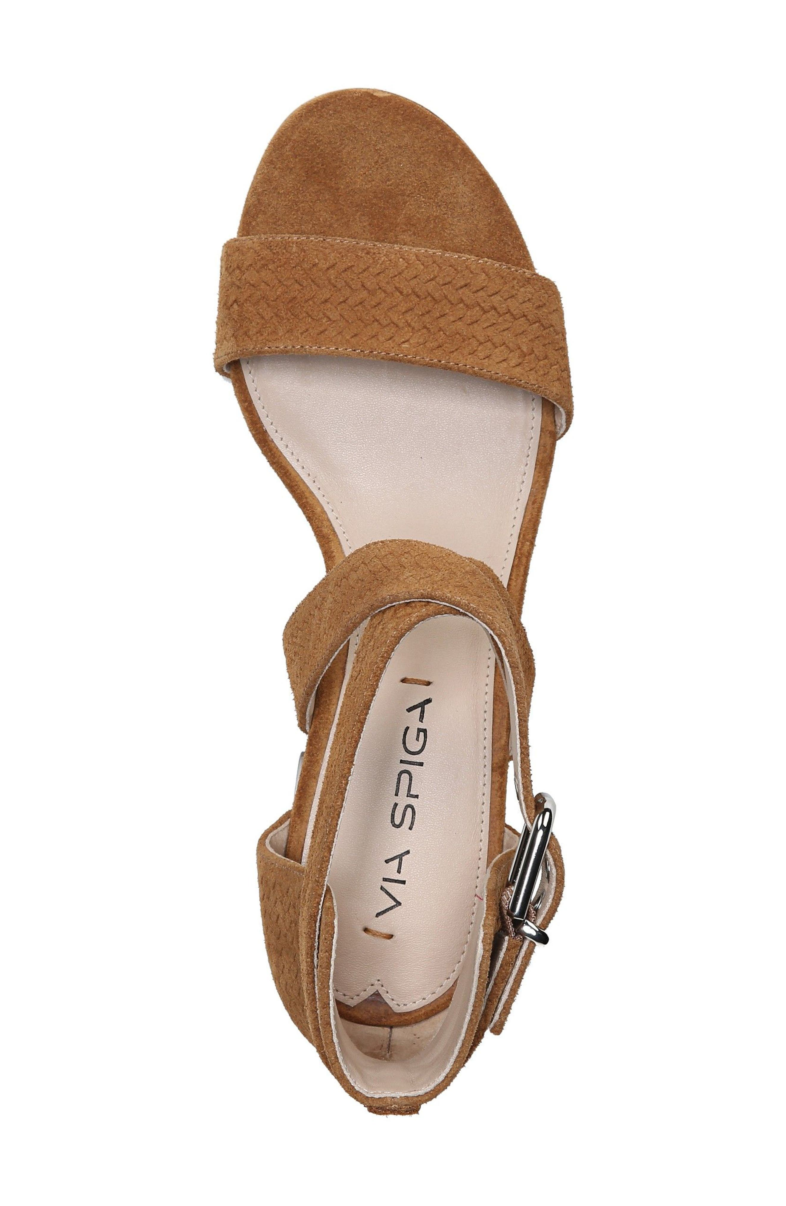 'Jobina' Crisscross Strap Block Heel Sandal,                             Alternate thumbnail 3, color,                             Tawny Suede