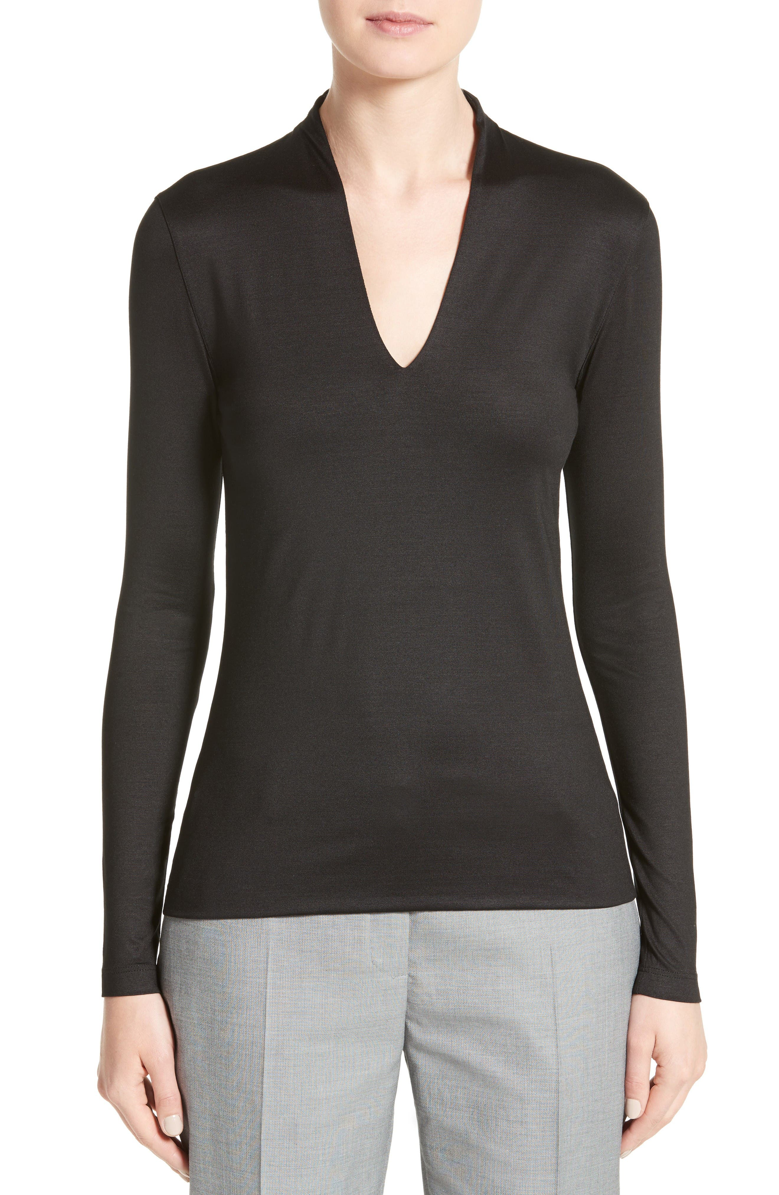 Main Image - Akris Long Sleeve Silk Jersey Blouse