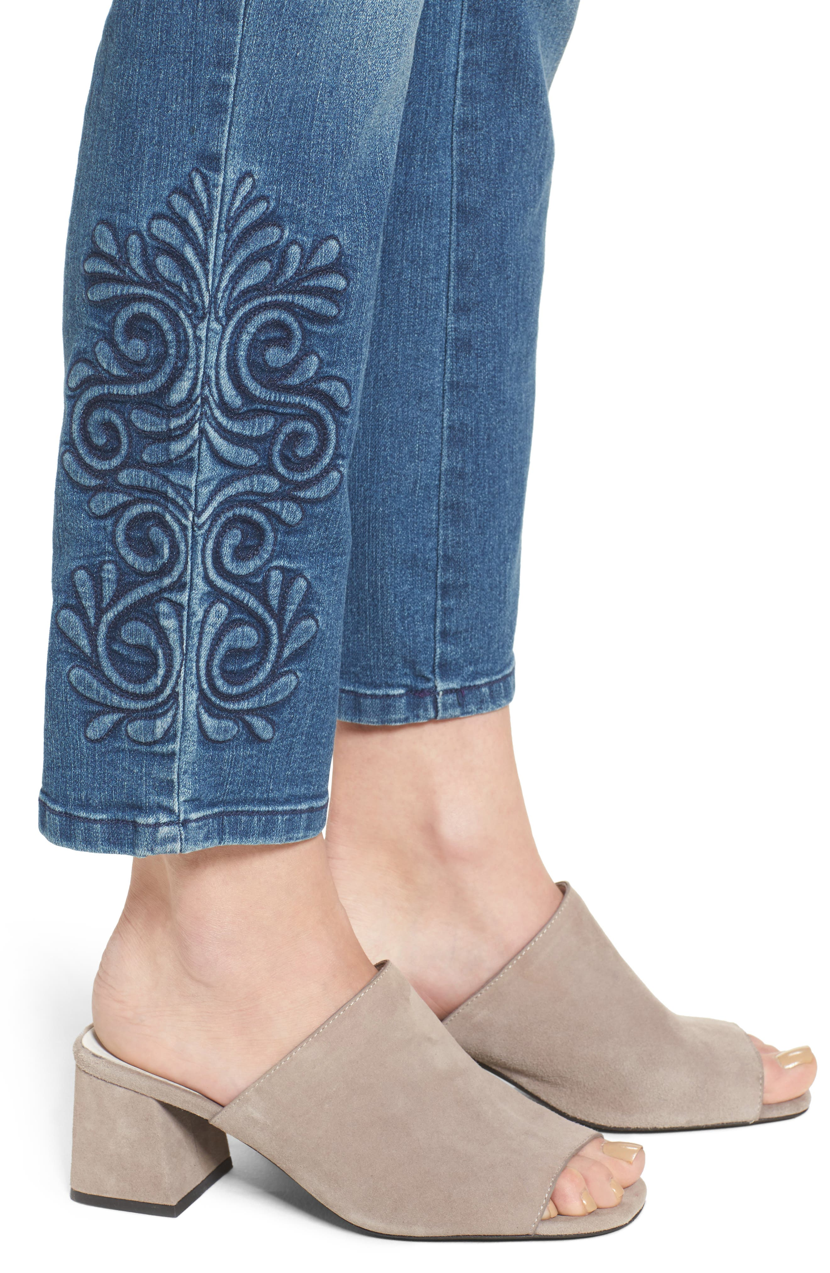 Ira Embroidered Relaxed Ankle Jeans,                             Alternate thumbnail 4, color,                             Saint Germain