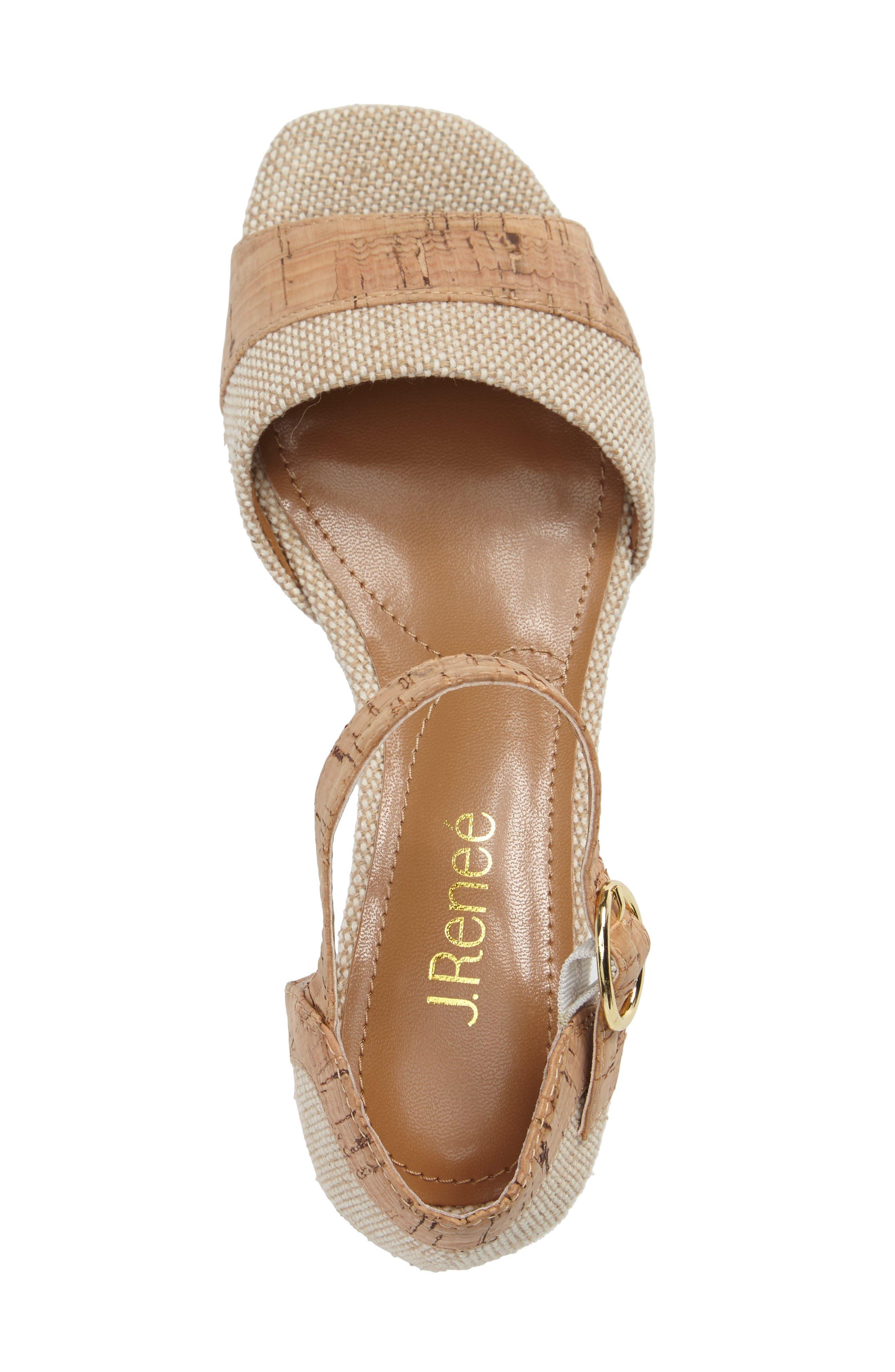 Pebblebeach Block Heel Sandal,                             Alternate thumbnail 3, color,                             Natural/ Cork Fabric