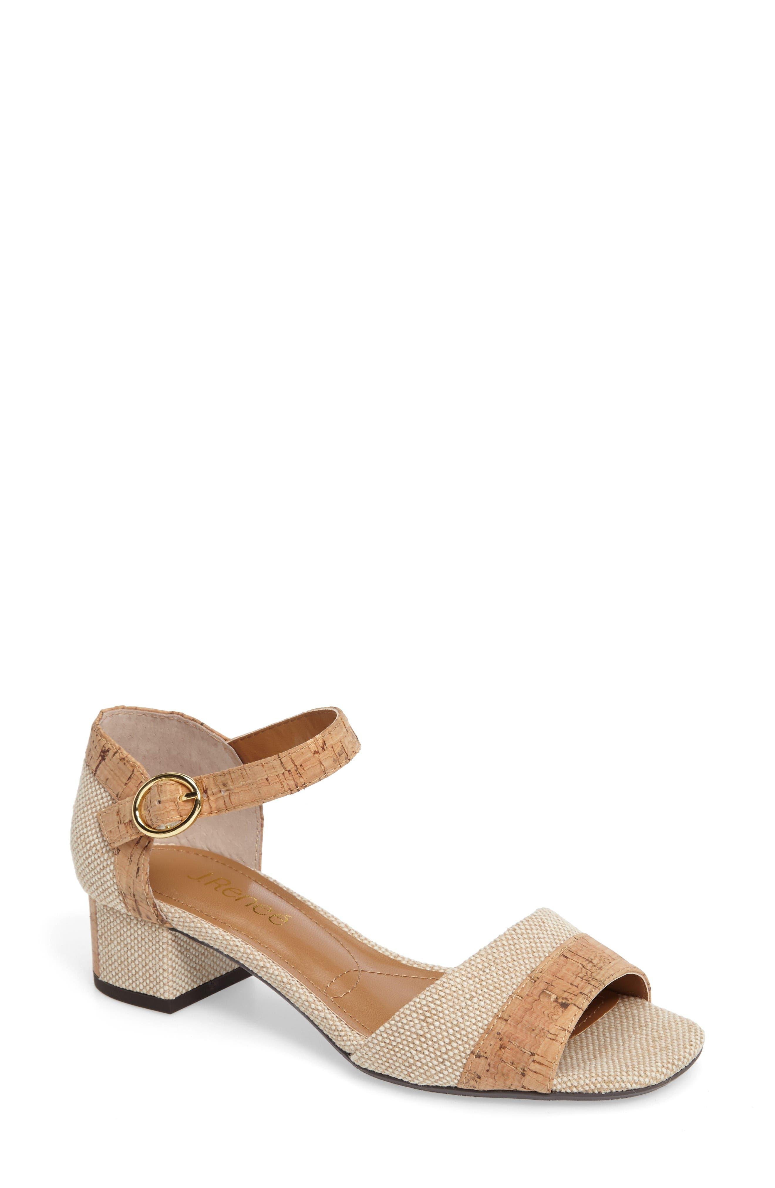 Pebblebeach Block Heel Sandal,                             Main thumbnail 1, color,                             Natural/ Cork Fabric