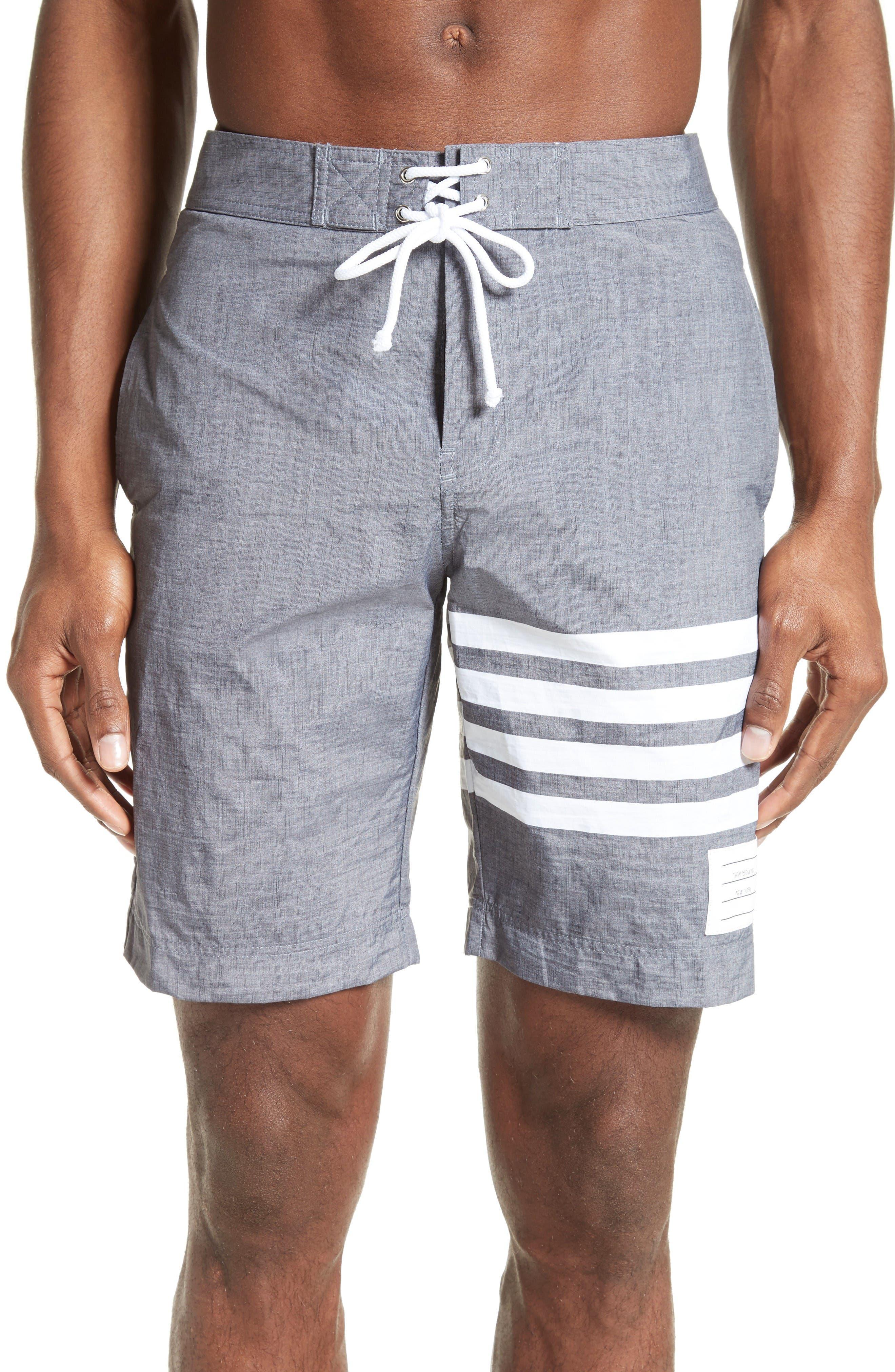 4-Bar Print Tech Board Shorts,                         Main,                         color, Medium Grey