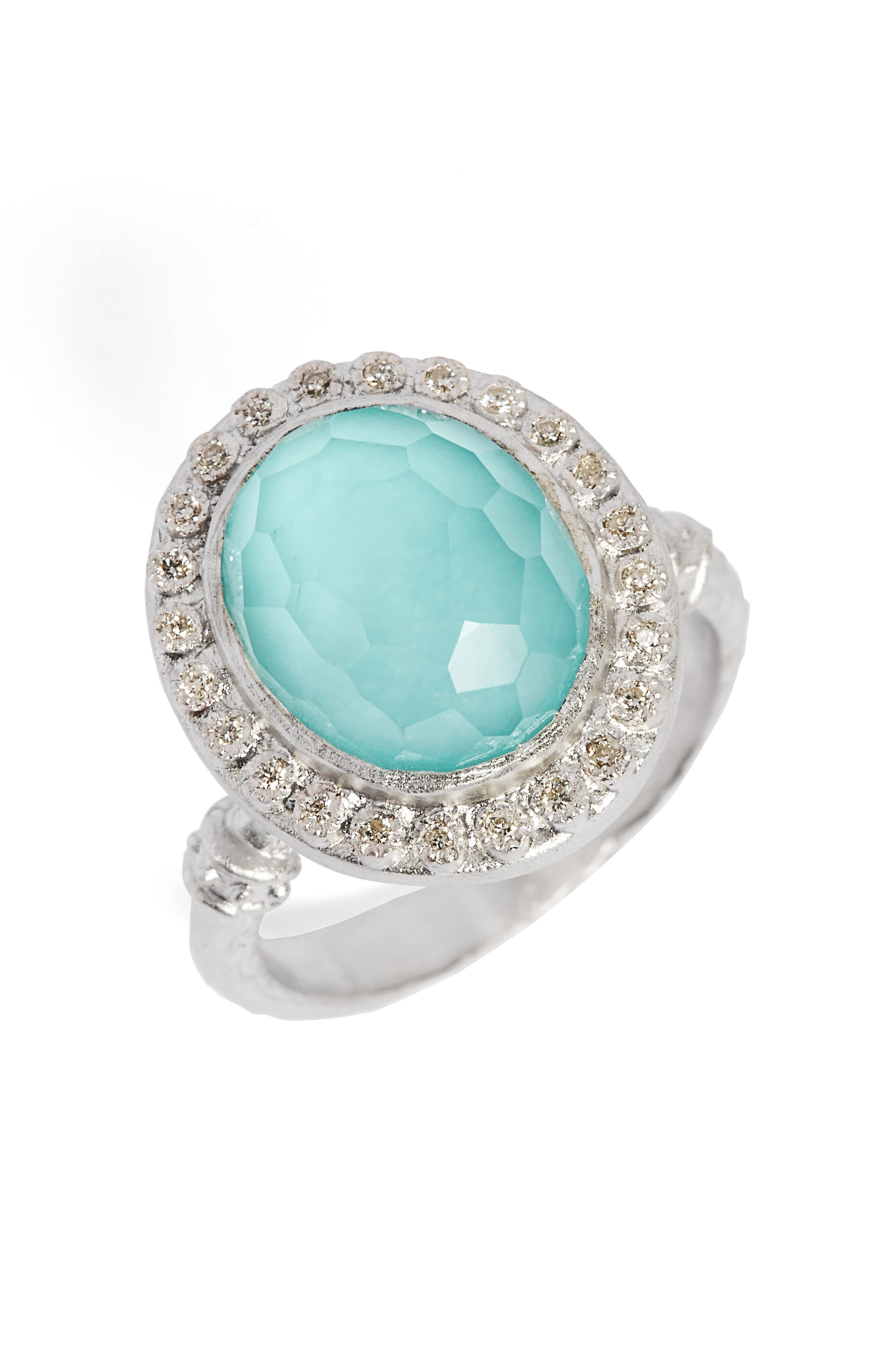 New World Diamond & Turquoise Ring,                         Main,                         color, Silver