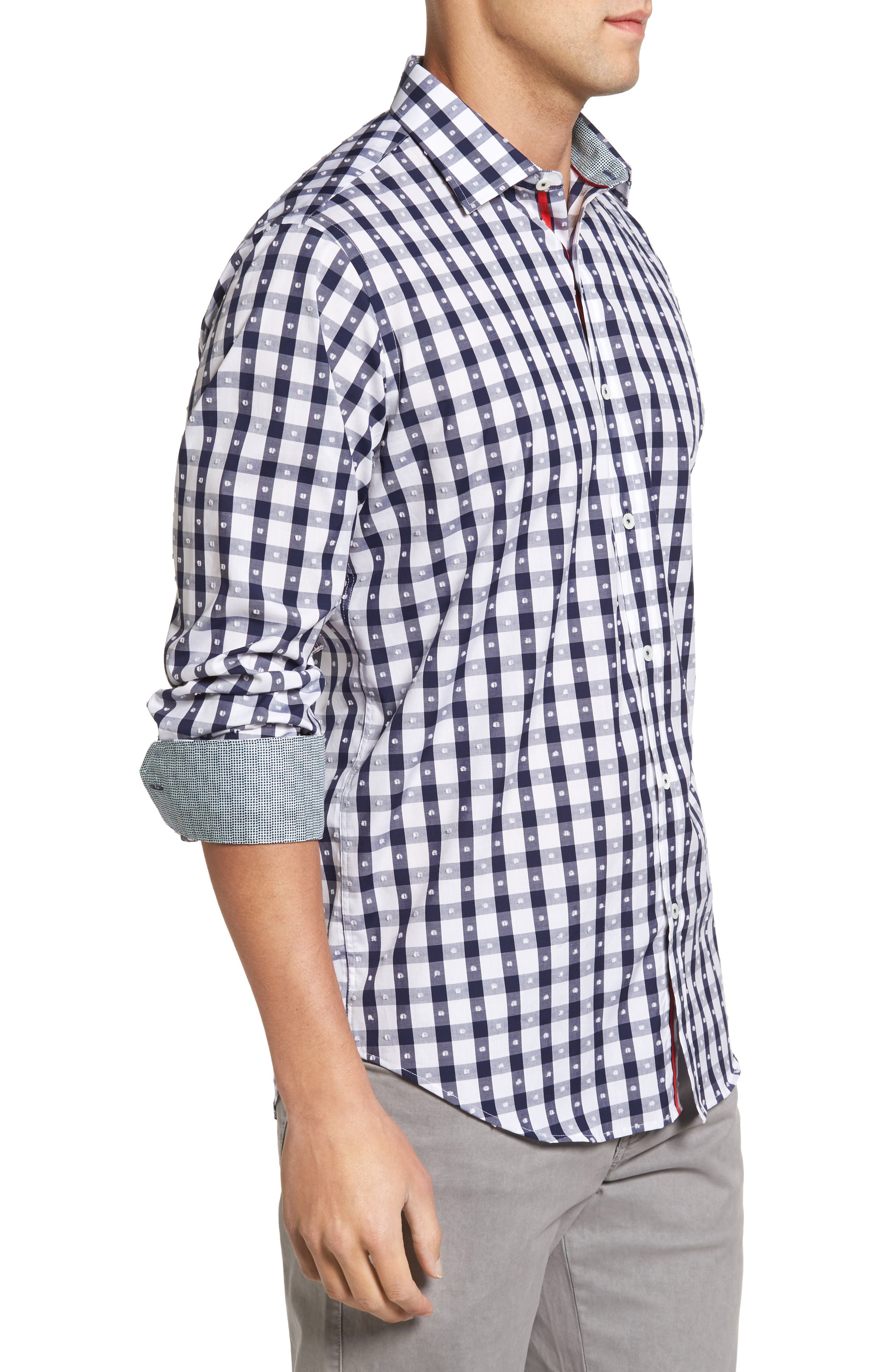 Classic Fit Dot & Gingham Check Sport Shirt,                             Alternate thumbnail 3, color,                             Navy