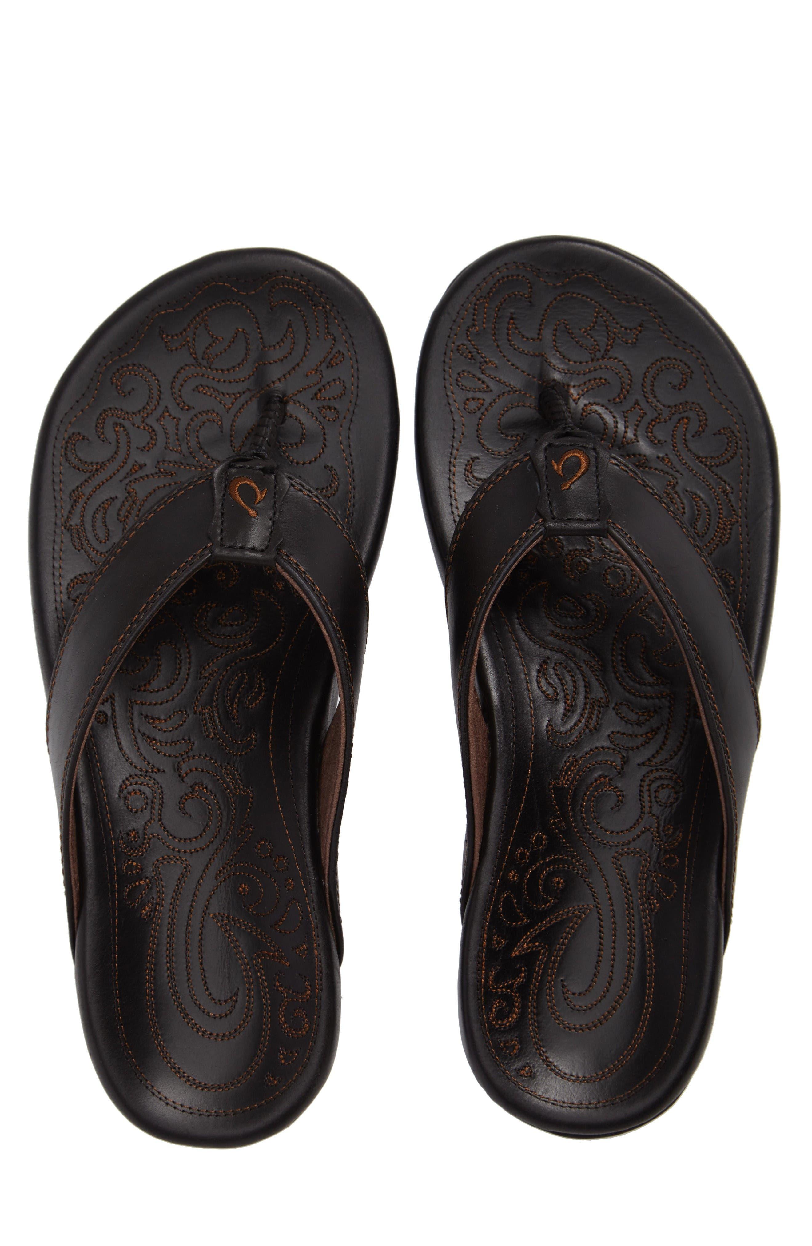 Waimea Flip Flop,                         Main,                         color, Black/ Black Leather