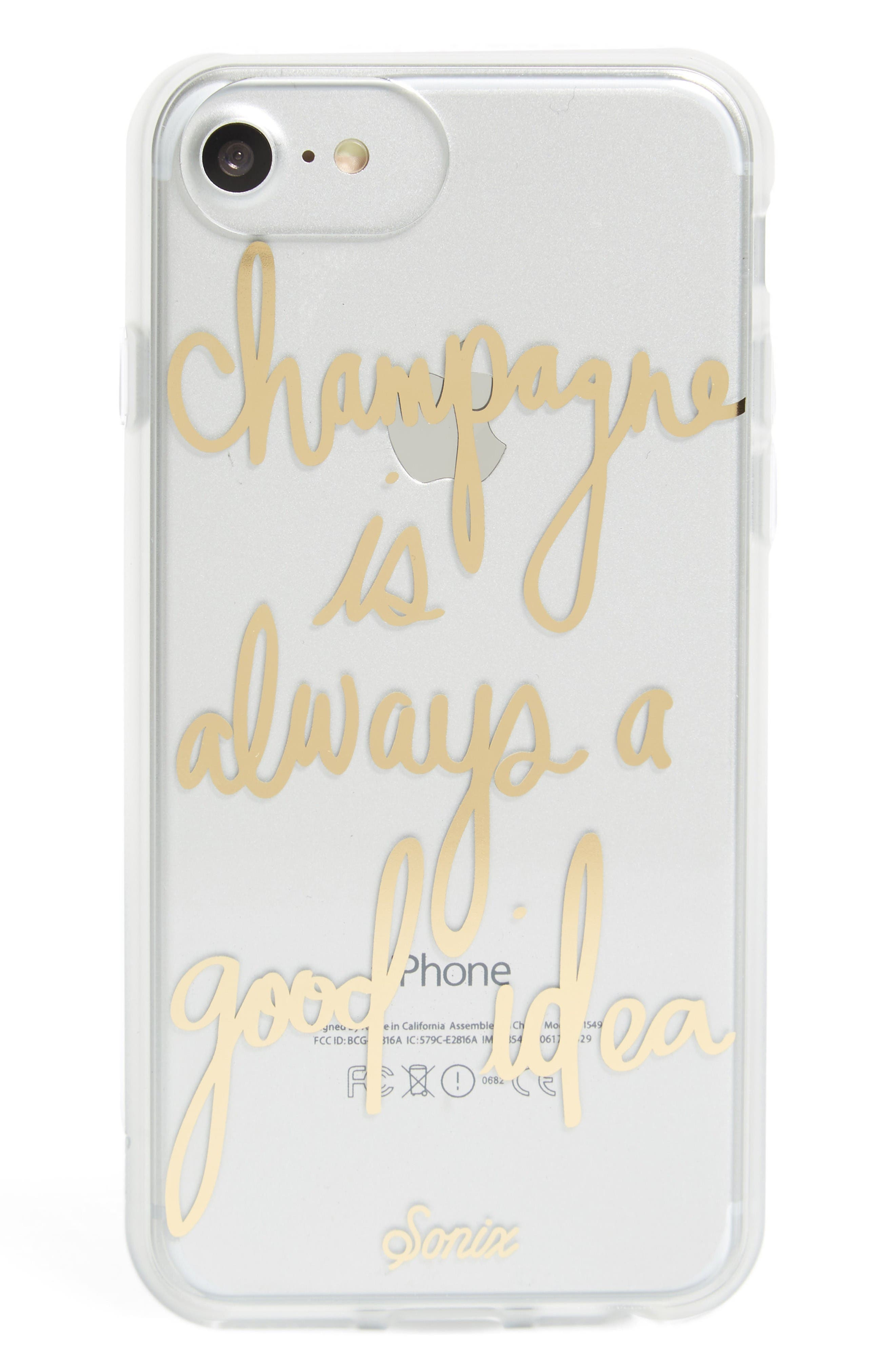 Champagne iPhone 6/6s/7/8 & 6/6s/7/8 Plus Case,                         Main,                         color, Gold
