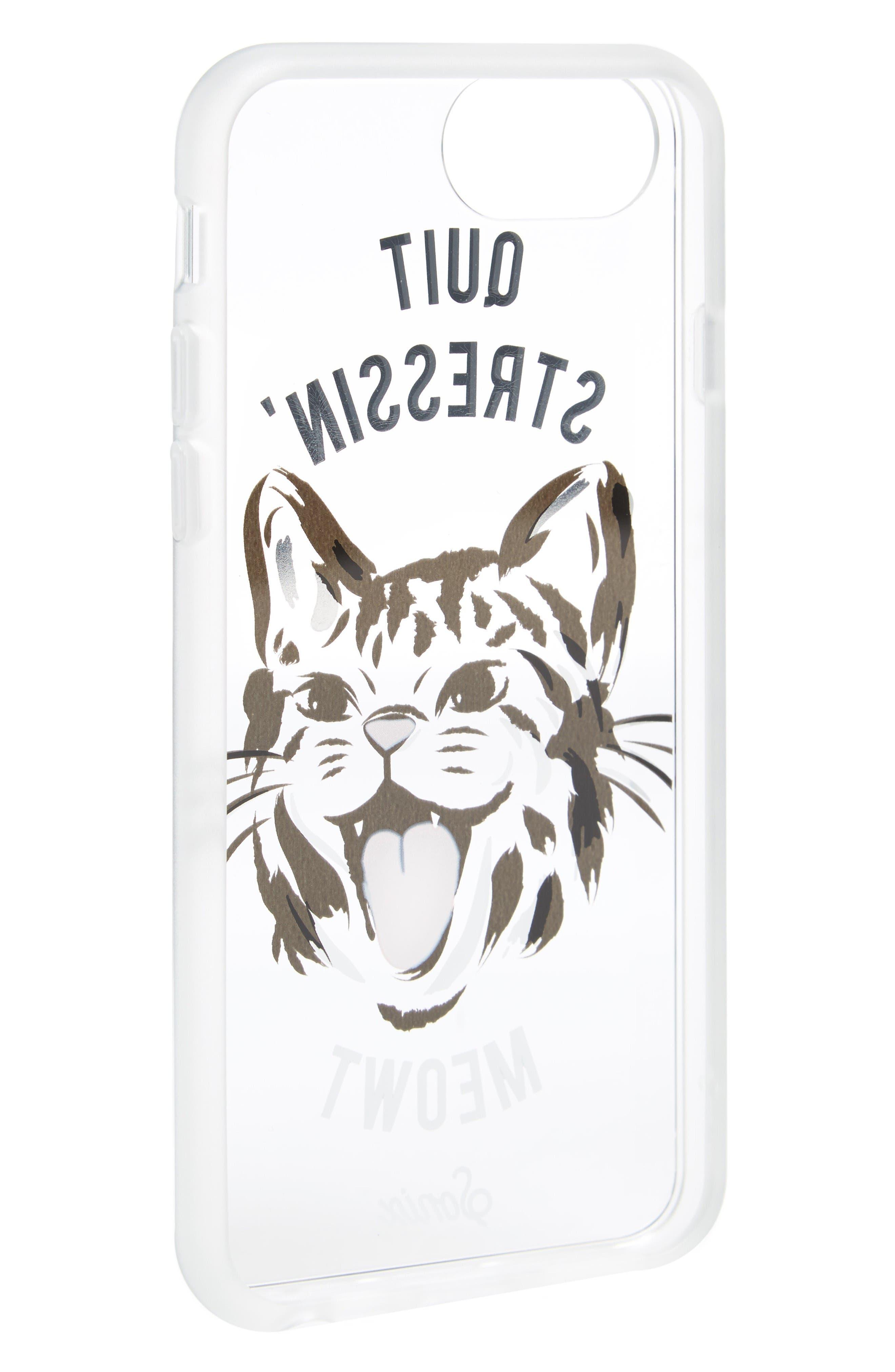 Quit Stressin' Meowt iPhone 6/6s/7/8 & 6/6s/7/8 Plus Case,                             Alternate thumbnail 2, color,                             Gold