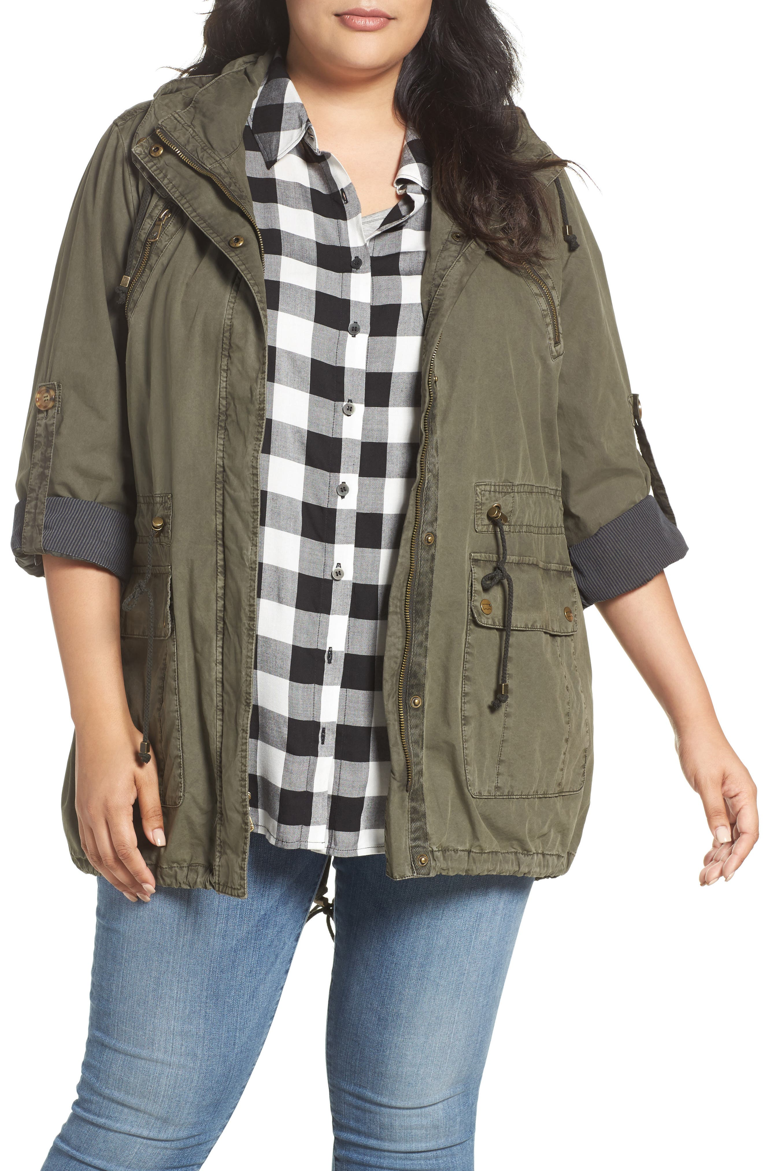 Roll-Sleeve Anorak,                         Main,                         color, Army Green
