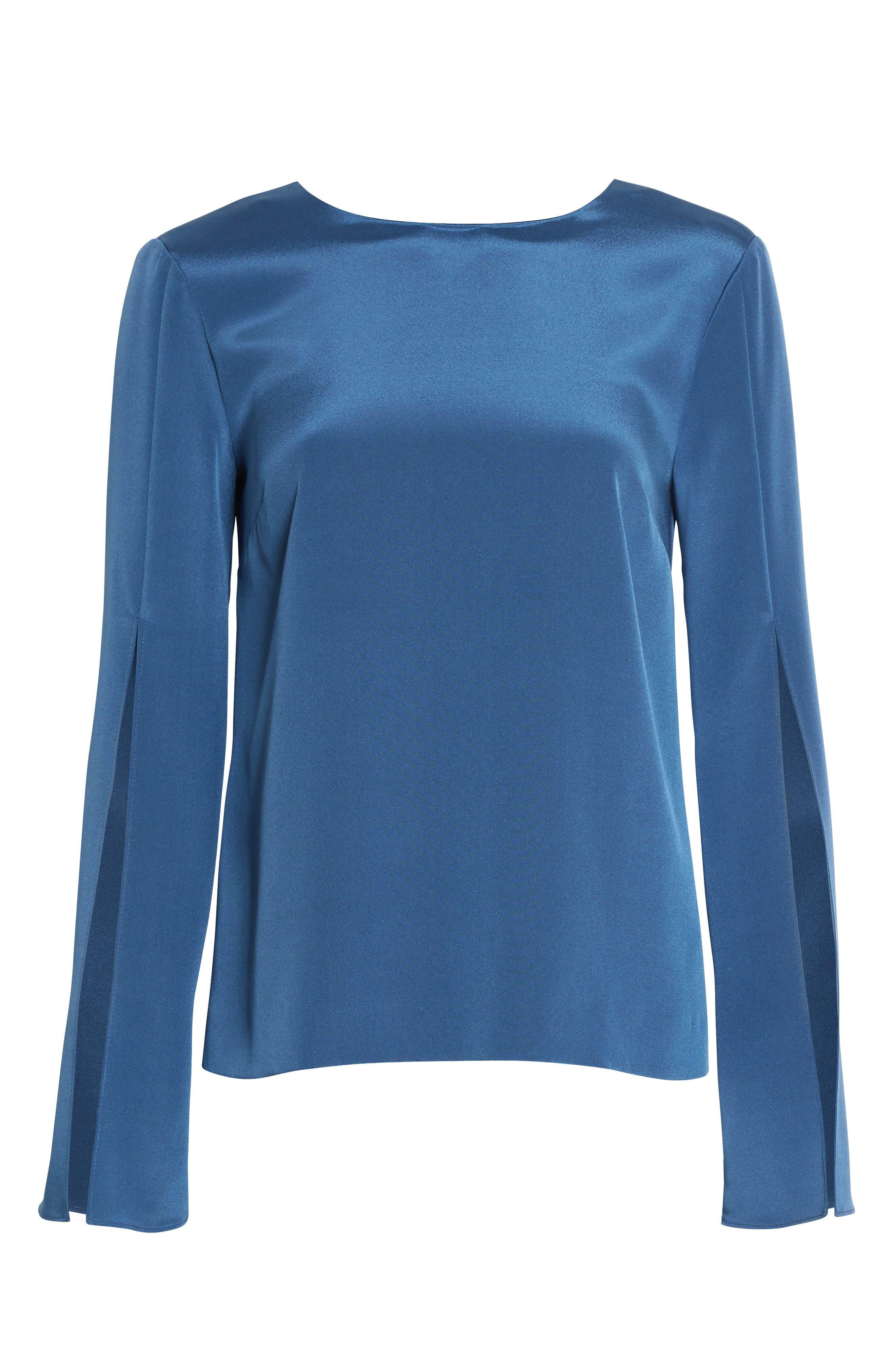 Alternate Image 6  - St. John Collection Back Bow Stretch Silk Blouse
