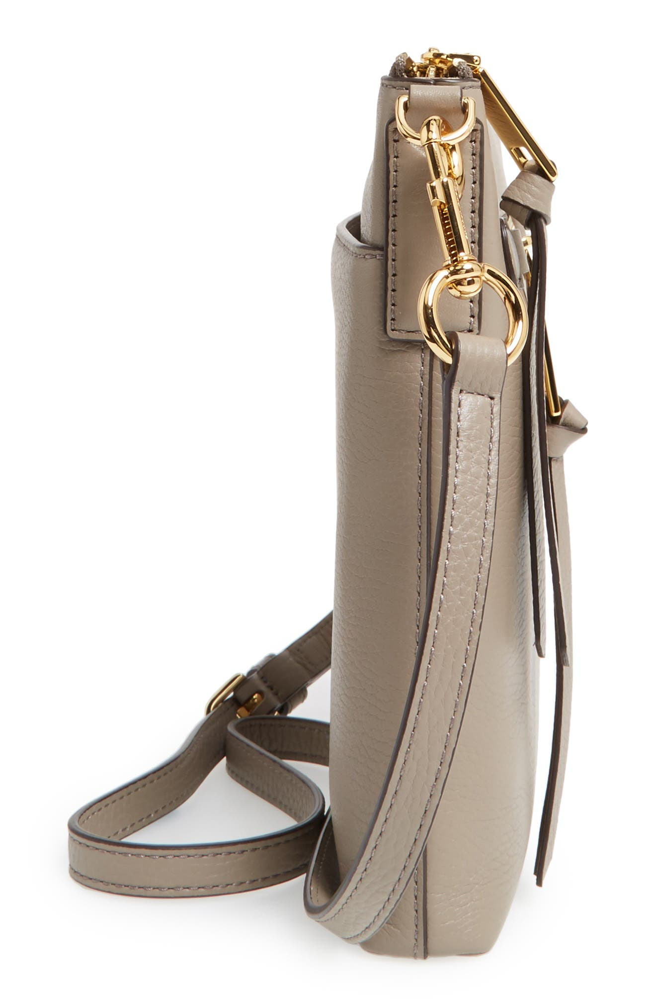 Recruit North/South Leather Crossbody Bag,                             Alternate thumbnail 5, color,                             Mink