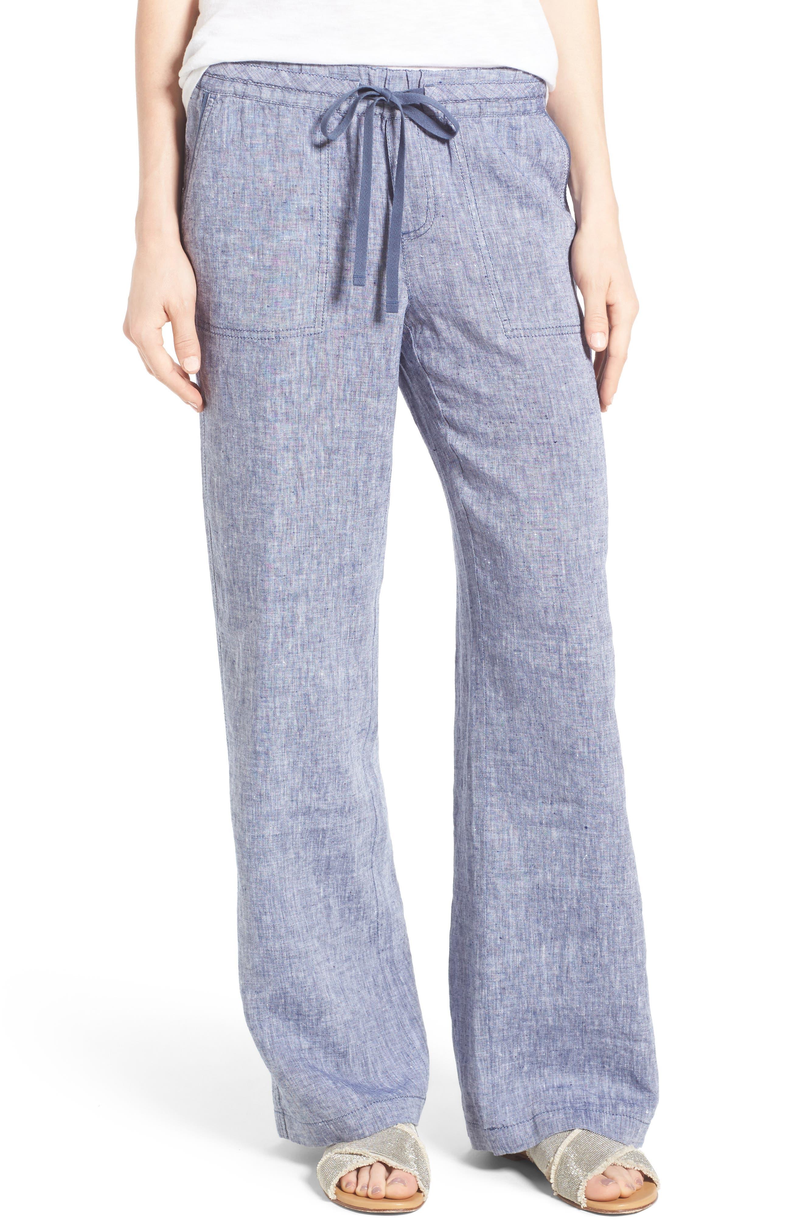 Caslon® Drawstring Linen Pants (Regular & Petite)