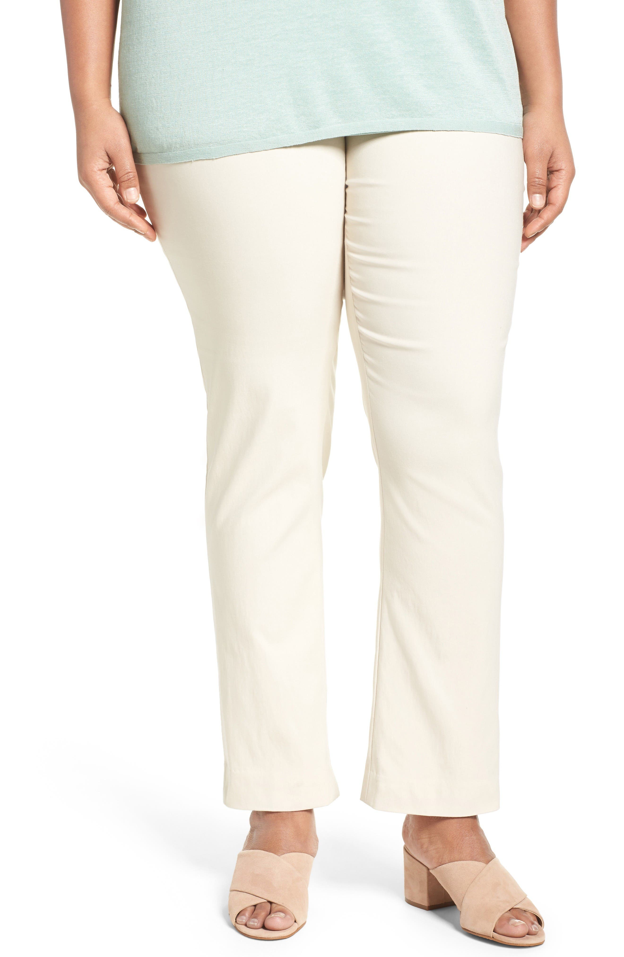 'Wonder Stretch' Straight Leg Pants,                             Main thumbnail 1, color,                             Sandshell